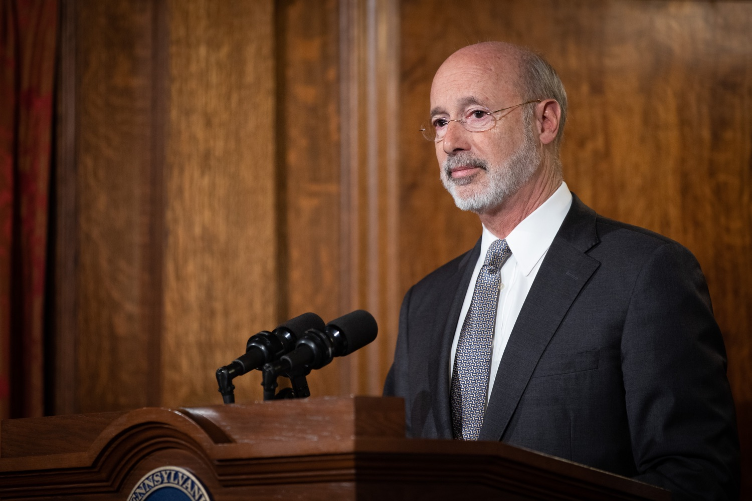 "<a href=""https://filesource.wostreaming.net/commonwealthofpa/photo/17554_gov_voter_reform_bill_dz_017.jpg"" target=""_blank"">⇣ Download Photo<br></a>Harrisburg, PA  Governor Tom Wolf speaks at the Election Reform Bill signing. Governor Wolf made voting more convenient and secure by signing Act 77 of 2019, the most significant improvement to Pennsylvanias elections in more than 80 years. The bipartisan compromise legislation takes effect for the April 2020 primary election and makes Pennsylvania a national leader with voter-friendly election reforms."