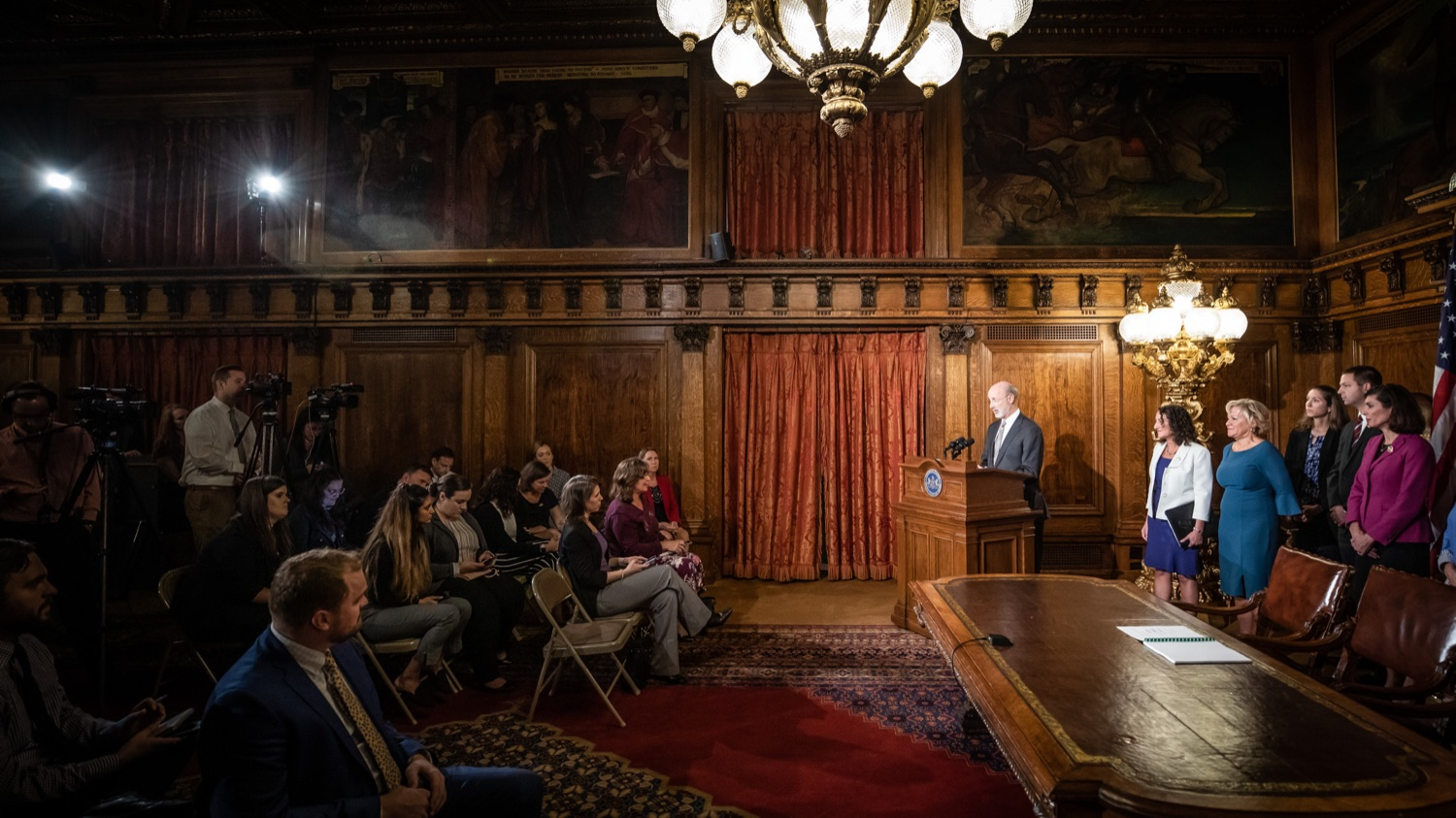 "<a href=""https://filesource.wostreaming.net/commonwealthofpa/photo/17554_gov_voter_reform_bill_dz_019.jpg"" target=""_blank"">⇣ Download Photo<br></a>Harrisburg, PA  Governor Tom Wolf speaks at the Election Reform Bill signing.  Governor Wolf made voting more convenient and secure by signing Act 77 of 2019, the most significant improvement to Pennsylvanias elections in more than 80 years. The bipartisan compromise legislation takes effect for the April 2020 primary election and makes Pennsylvania a national leader with voter-friendly election reforms."