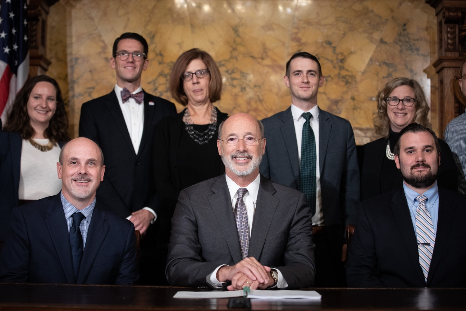 "<a href=""https://filesource.wostreaming.net/commonwealthofpa/photo/17554_gov_voter_reform_bill_dz_020.jpg"" target=""_blank"">⇣ Download Photo<br></a>Harrisburg, PA  Governor Tom Wolf posing with attendees after the bill signing. Governor Wolf made voting more convenient and secure by signing Act 77 of 2019, the most significant improvement to Pennsylvanias elections in more than 80 years. The bipartisan compromise legislation takes effect for the April 2020 primary election and makes Pennsylvania a national leader with voter-friendly election reforms."
