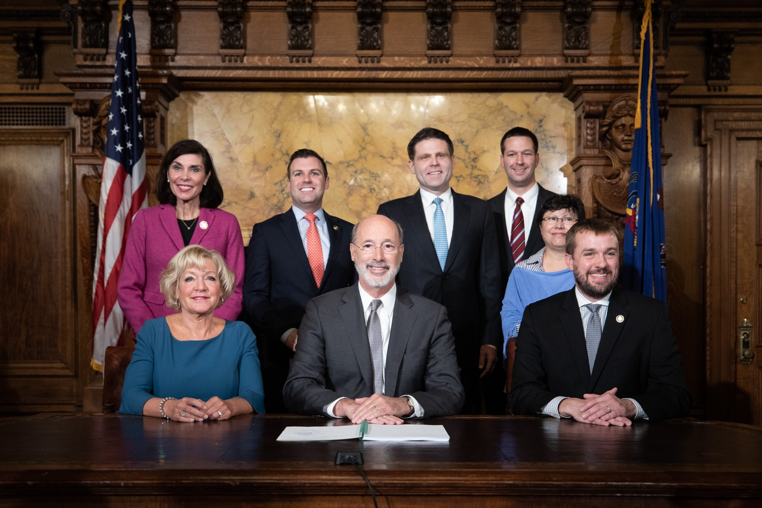 "<a href=""https://filesource.wostreaming.net/commonwealthofpa/photo/17554_gov_voter_reform_bill_dz_021.jpg"" target=""_blank"">⇣ Download Photo<br></a>Harrisburg, PA  Governor Tom Wolf posing with attendees after the bill signing. Governor Wolf made voting more convenient and secure by signing Act 77 of 2019, the most significant improvement to Pennsylvanias elections in more than 80 years. The bipartisan compromise legislation takes effect for the April 2020 primary election and makes Pennsylvania a national leader with voter-friendly election reforms."