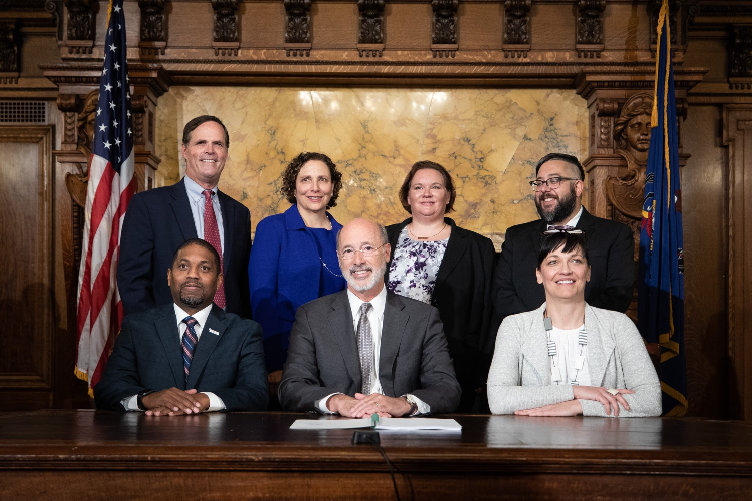 "<a href=""https://filesource.wostreaming.net/commonwealthofpa/photo/17554_gov_voter_reform_bill_dz_022.jpg"" target=""_blank"">⇣ Download Photo<br></a>Harrisburg, PA  Governor Tom Wolf posing with attendees after the bill signing. Governor Wolf made voting more convenient and secure by signing Act 77 of 2019, the most significant improvement to Pennsylvanias elections in more than 80 years. The bipartisan compromise legislation takes effect for the April 2020 primary election and makes Pennsylvania a national leader with voter-friendly election reforms."