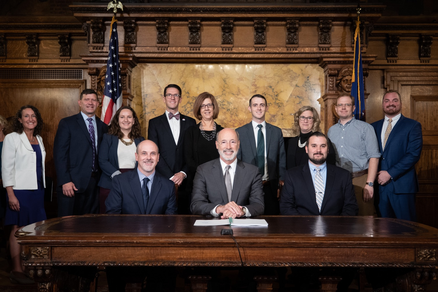 "<a href=""https://filesource.wostreaming.net/commonwealthofpa/photo/17554_gov_voter_reform_bill_dz_023.jpg"" target=""_blank"">⇣ Download Photo<br></a>Harrisburg, PA  Governor Tom Wolf posing with attendees after the bill signing. Governor Wolf made voting more convenient and secure by signing Act 77 of 2019, the most significant improvement to Pennsylvanias elections in more than 80 years. The bipartisan compromise legislation takes effect for the April 2020 primary election and makes Pennsylvania a national leader with voter-friendly election reforms."
