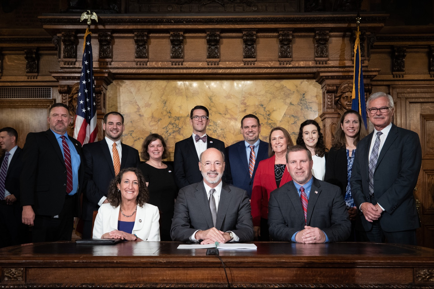 "<a href=""https://filesource.wostreaming.net/commonwealthofpa/photo/17554_gov_voter_reform_bill_dz_024.jpg"" target=""_blank"">⇣ Download Photo<br></a>Harrisburg, PA  Governor Tom Wolf posing with attendees after the bill signing. Governor Wolf made voting more convenient and secure by signing Act 77 of 2019, the most significant improvement to Pennsylvanias elections in more than 80 years. The bipartisan compromise legislation takes effect for the April 2020 primary election and makes Pennsylvania a national leader with voter-friendly election reforms."