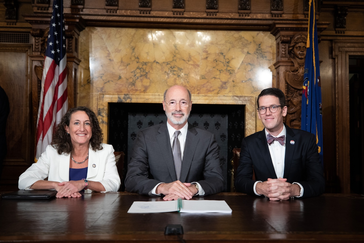 "<a href=""https://filesource.wostreaming.net/commonwealthofpa/photo/17554_gov_voter_reform_bill_dz_025.jpg"" target=""_blank"">⇣ Download Photo<br></a>Harrisburg, PA  Governor Tom Wolf posing with attendees after the bill signing. Governor Wolf made voting more convenient and secure by signing Act 77 of 2019, the most significant improvement to Pennsylvanias elections in more than 80 years. The bipartisan compromise legislation takes effect for the April 2020 primary election and makes Pennsylvania a national leader with voter-friendly election reforms."