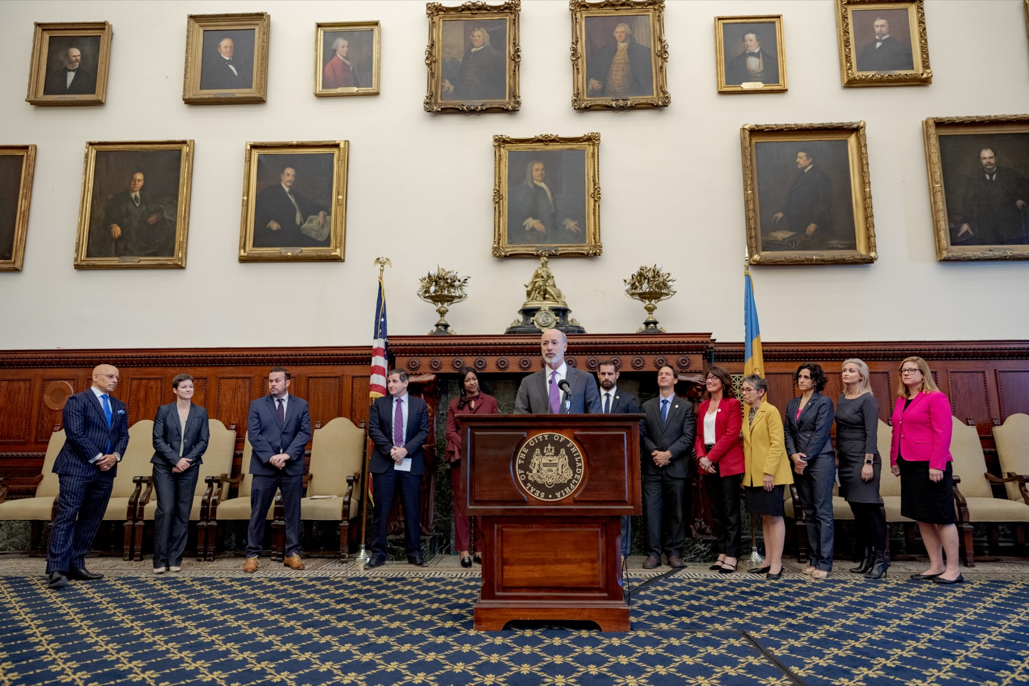 """<a href=""""https://filesource.wostreaming.net/commonwealthofpa/photo/17556_GOV_Heartbeat_Bill_NK_002.JPG"""" target=""""_blank"""">⇣Download Photo<br></a>Pennsylvania Governor Tom Wolf speaks during a rally against the Heartbeat Bill and in support of women's reproductive rights inside Philadelphia City Hall on Friday, November 1, 2019."""