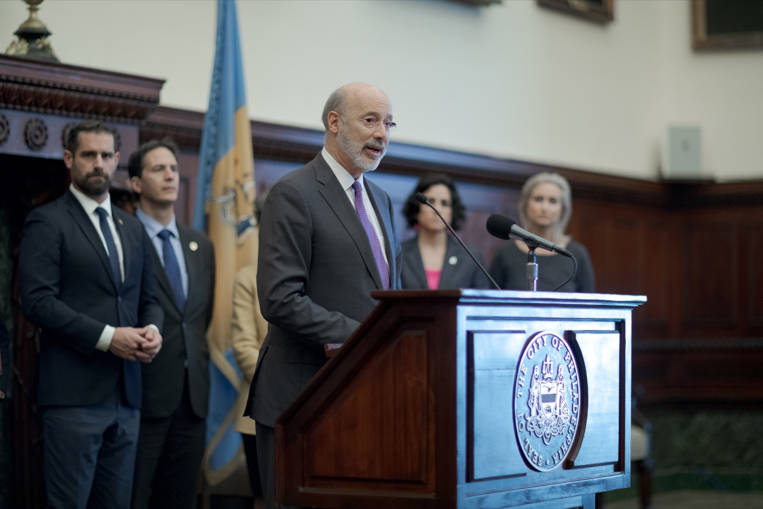 """<a href=""""https://filesource.wostreaming.net/commonwealthofpa/photo/17556_GOV_Heartbeat_Bill_NK_003.JPG"""" target=""""_blank"""">⇣Download Photo<br></a>Pennsylvania Governor Tom Wolf speaks during a rally against the Heartbeat Bill and in support of women's reproductive rights inside Philadelphia City Hall on Friday, November 1, 2019."""