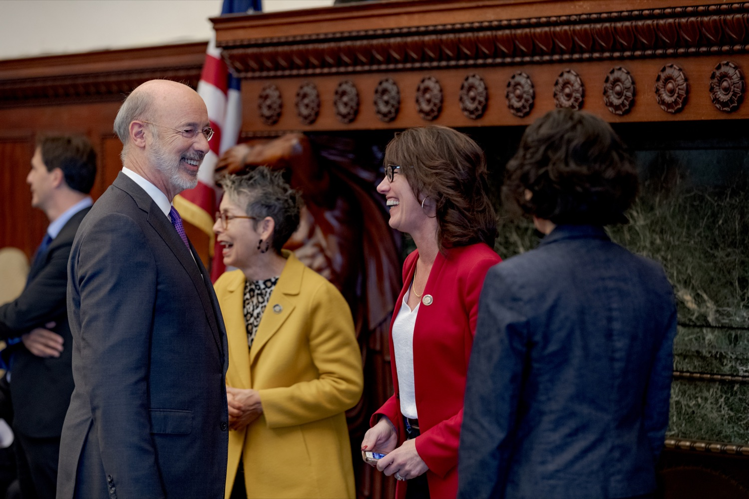 """<a href=""""https://filesource.wostreaming.net/commonwealthofpa/photo/17556_GOV_Heartbeat_Bill_NK_004.JPG"""" target=""""_blank"""">⇣Download Photo<br></a>Pennsylvania Governor Tom Wolf smiles with Rep. Mary Jo Daley, center left, and Rep. Mary Isaacson, center right, before a rally against the Heartbeat Bill and in support of women's reproductive rights inside Philadelphia City Hall on Friday, November 1, 2019."""