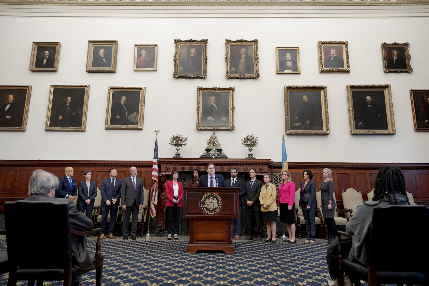 """<a href=""""https://filesource.wostreaming.net/commonwealthofpa/photo/17556_GOV_Heartbeat_Bill_NK_007.JPG"""" target=""""_blank"""">⇣Download Photo<br></a>Senator Larry Farnese speaks during a rally against the Heartbeat Bill and in support of women's reproductive rights inside Philadelphia City Hall on Friday, November 1, 2019."""