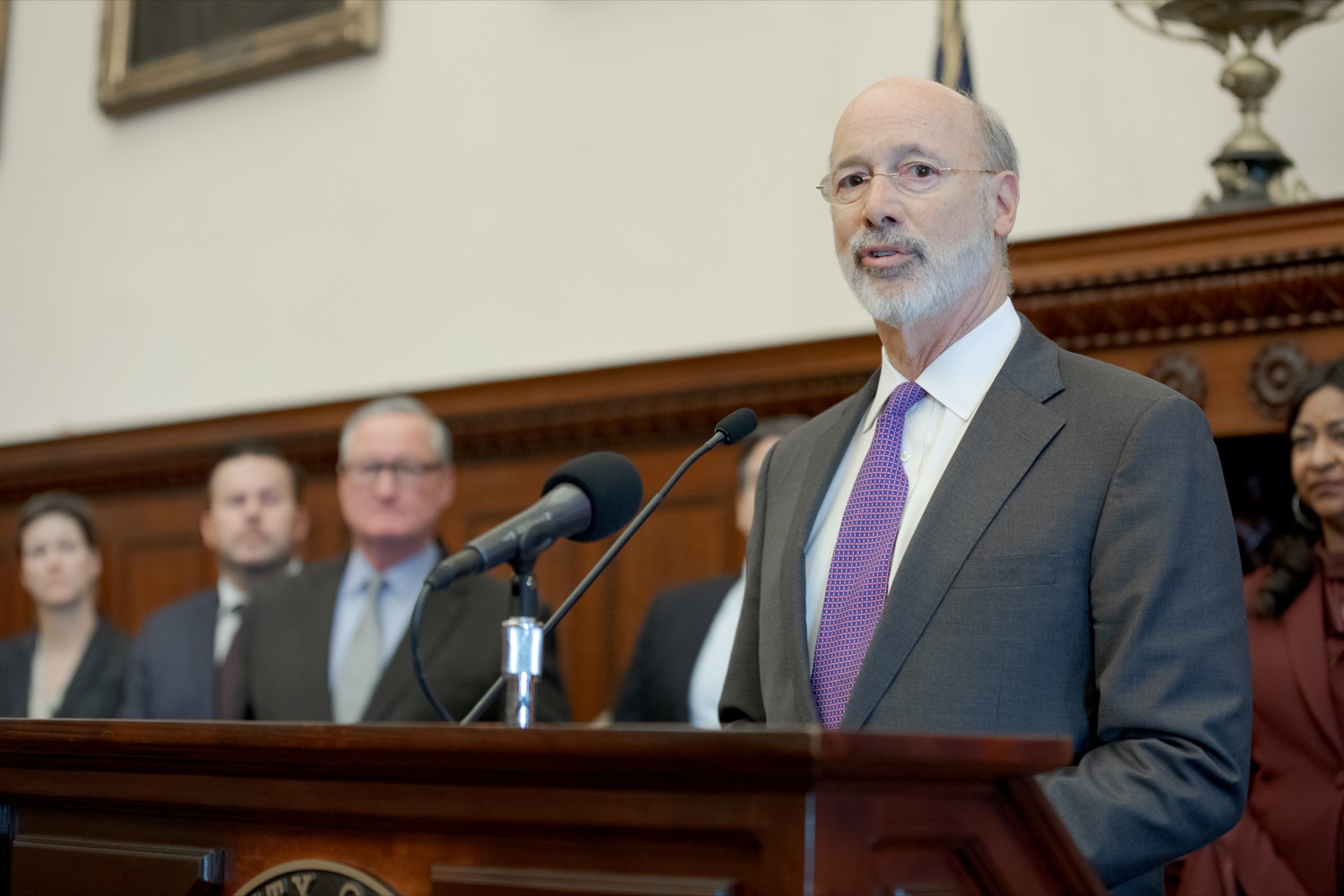 """<a href=""""https://filesource.wostreaming.net/commonwealthofpa/photo/17556_GOV_Heartbeat_Bill_NK_009.JPG"""" target=""""_blank"""">⇣Download Photo<br></a>Pennsylvania Governor Tom Wolf speaks during a rally against the Heartbeat Bill and in support of women's reproductive rights inside Philadelphia City Hall on Friday, November 1, 2019."""