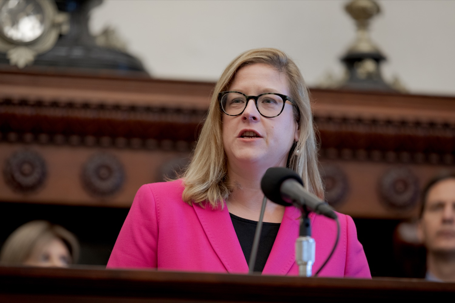 """<a href=""""https://filesource.wostreaming.net/commonwealthofpa/photo/17556_GOV_Heartbeat_Bill_NK_011.JPG"""" target=""""_blank"""">⇣Download Photo<br></a>State Rep. Leanne Krueger speaks during a rally against the Heartbeat Bill and in support of women's reproductive rights inside Philadelphia City Hall on Friday, November 1, 2019."""