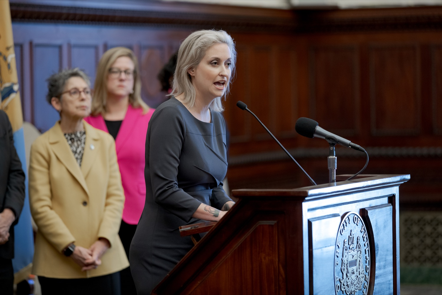 """<a href=""""https://filesource.wostreaming.net/commonwealthofpa/photo/17556_GOV_Heartbeat_Bill_NK_014.JPG"""" target=""""_blank"""">⇣Download Photo<br></a>Dr. Erica Goldblatt Hyatt speaks about her decision to have an abortion during a rally against the Heartbeat Bill and in support of women's reproductive rights inside Philadelphia City Hall on Friday, November 1, 2019."""