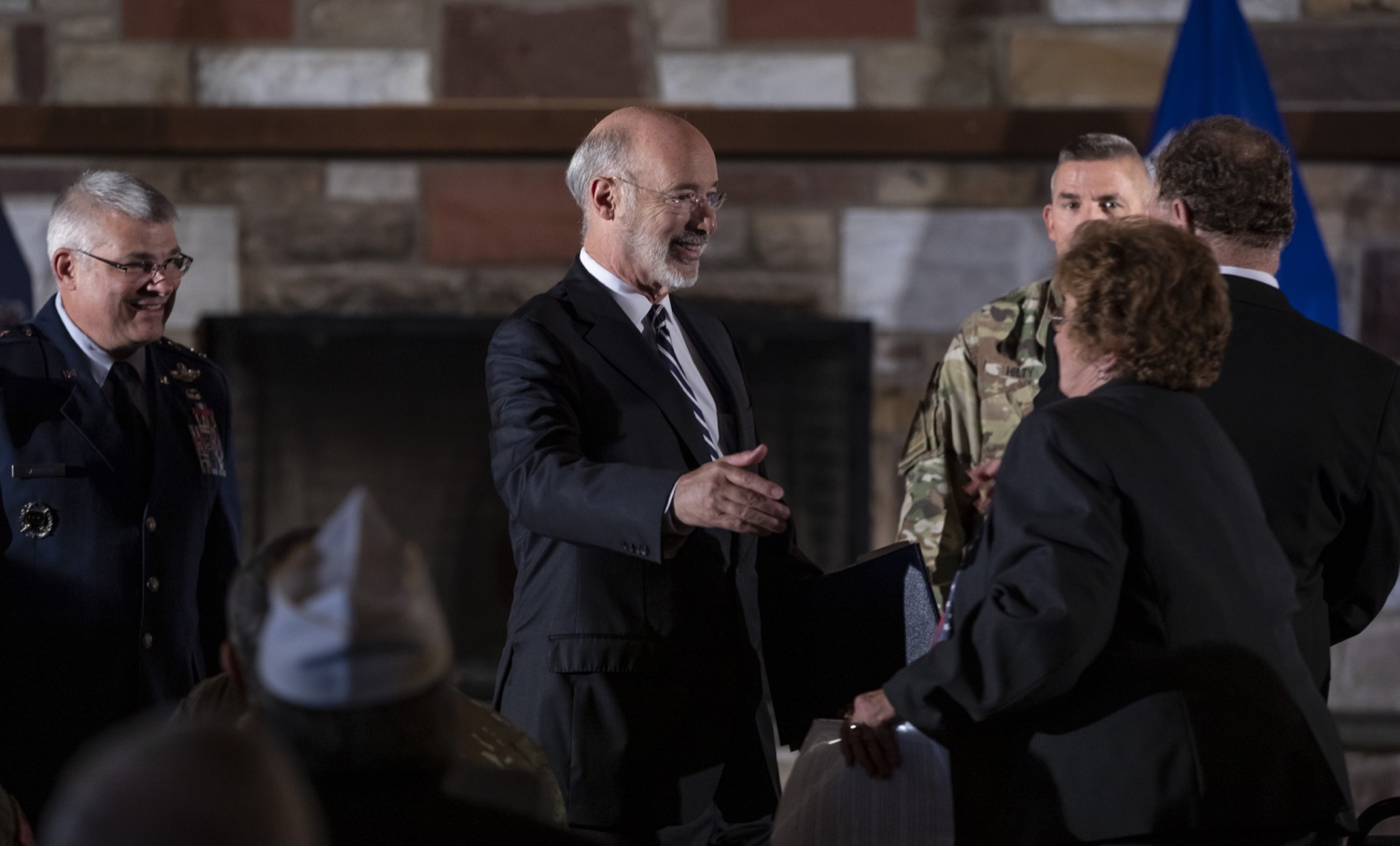 """<a href=""""https://filesource.wostreaming.net/commonwealthofpa/photo/17557_gov_dmva_rjw_002.jpg"""" target=""""_blank"""">⇣Download Photo<br></a>Governor Tom Wolf helped to honor two members inducted today into the Pennsylvania Department of Military and Veterans Affairs prestigious Hall of Fame, recognizing their exceptional service to the department that supports Pennsylvanias nearly 800,000 veterans and 18,000 members of the National Guard.  Chief Warrant Officer 5 (ret.) John K. Schreier of Selinsgrove, Snyder County; and John A. Brenner (posthumously) of Mt. Wolf, York County, are the 2019 inductees."""