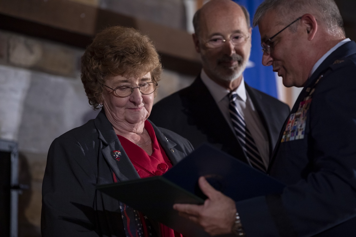 """<a href=""""https://filesource.wostreaming.net/commonwealthofpa/photo/17557_gov_dmva_rjw_010.jpg"""" target=""""_blank"""">⇣Download Photo<br></a>Governor Tom Wolf helped to honor two members inducted today into the Pennsylvania Department of Military and Veterans Affairs prestigious Hall of Fame, recognizing their exceptional service to the department that supports Pennsylvanias nearly 800,000 veterans and 18,000 members of the National Guard.  Chief Warrant Officer 5 (ret.) John K. Schreier of Selinsgrove, Snyder County; and John A. Brenner (posthumously) of Mt. Wolf, York County, are the 2019 inductees."""