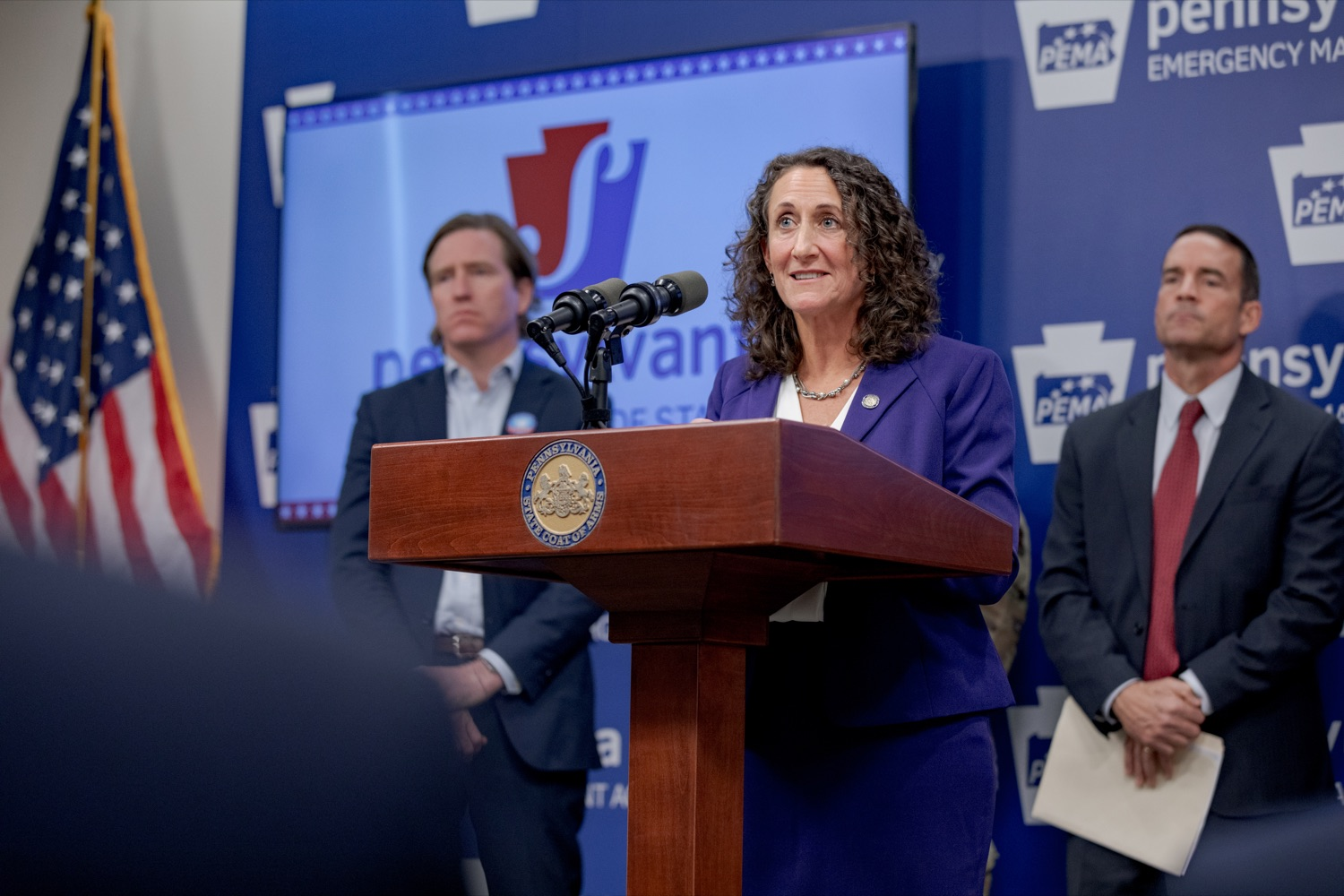 """<a href=""""https://filesource.wostreaming.net/commonwealthofpa/photo/17558_DOS_Election_Update_NK_001.JPG"""" target=""""_blank"""">⇣Download Photo<br></a>Acting Secretary of State Kathy Boockvar speaks during a press conference assuring Pennsylvanians that a sophisticated network of federal, state and local partnerships is safeguarding todays municipal election, inside PEMA headquarters on Tuesday, November 5, 2019."""
