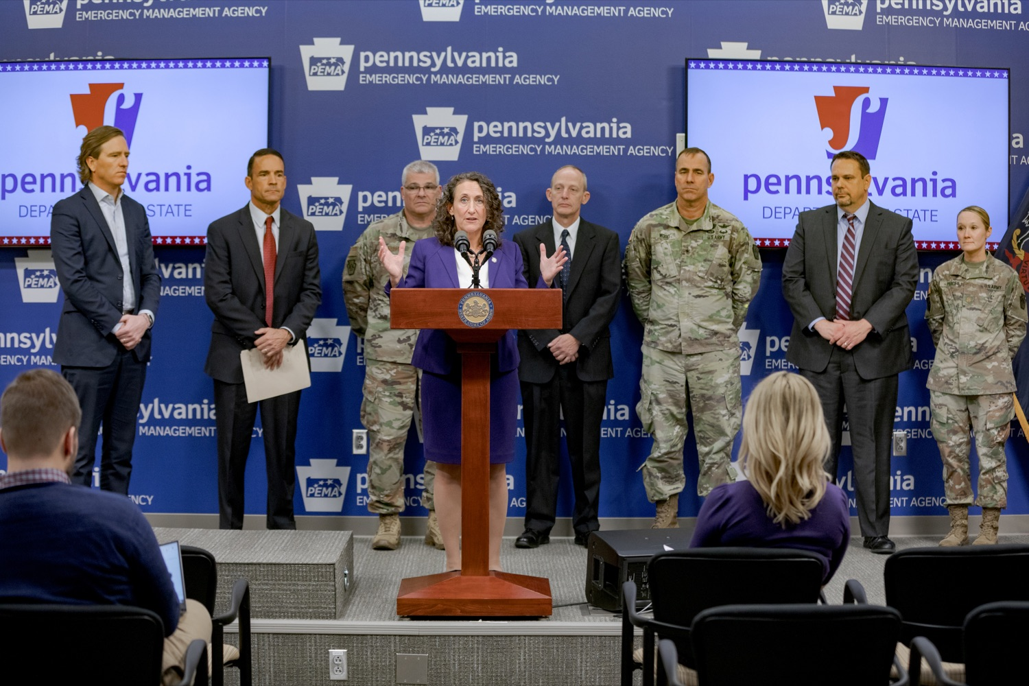 """<a href=""""https://filesource.wostreaming.net/commonwealthofpa/photo/17558_DOS_Election_Update_NK_002.JPG"""" target=""""_blank"""">⇣Download Photo<br></a>Acting Secretary of State Kathy Boockvar speaks during a press conference assuring Pennsylvanians that a sophisticated network of federal, state and local partnerships is safeguarding todays municipal election, inside PEMA headquarters on Tuesday, November 5, 2019."""