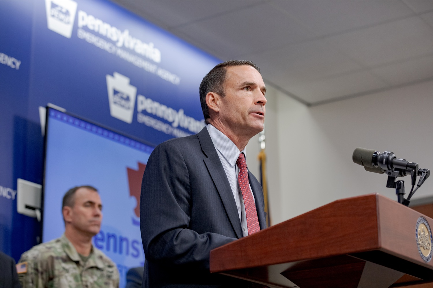 "<a href=""https://filesource.wostreaming.net/commonwealthofpa/photo/17558_DOS_Election_Update_NK_003.JPG"" target=""_blank"">⇣ Download Photo<br></a>Marcus Brown, director of the Governor's Office of Homeland Security, speaks during a press conference assuring Pennsylvanians that a sophisticated network of federal, state and local partnerships is safeguarding todays municipal election, inside PEMA headquarters on Tuesday, November 5, 2019."