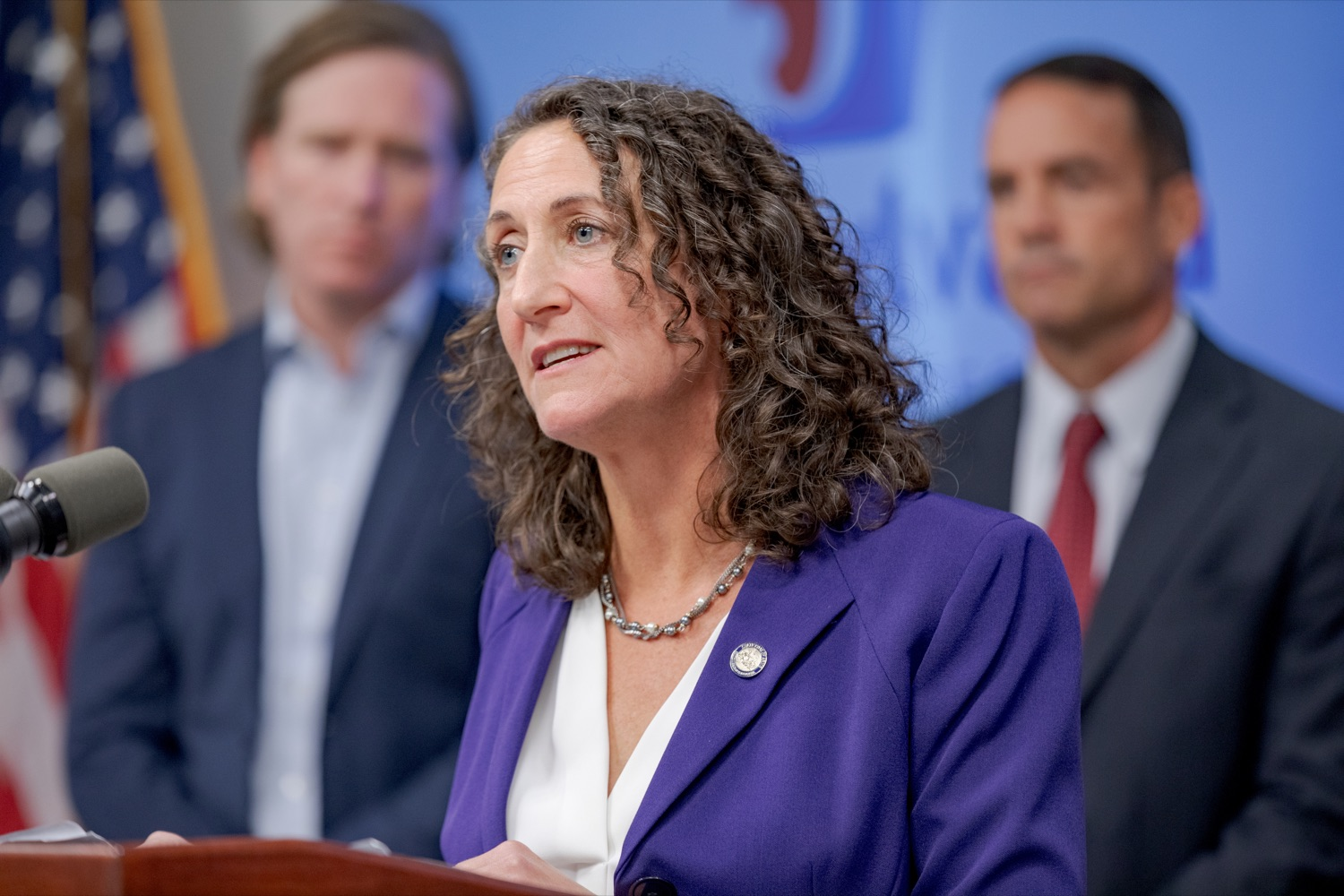 """<a href=""""https://filesource.wostreaming.net/commonwealthofpa/photo/17558_DOS_Election_Update_NK_005.JPG"""" target=""""_blank"""">⇣Download Photo<br></a>Acting Secretary of State Kathy Boockvar speaks during a press conference assuring Pennsylvanians that a sophisticated network of federal, state and local partnerships is safeguarding todays municipal election, inside PEMA headquarters on Tuesday, November 5, 2019."""
