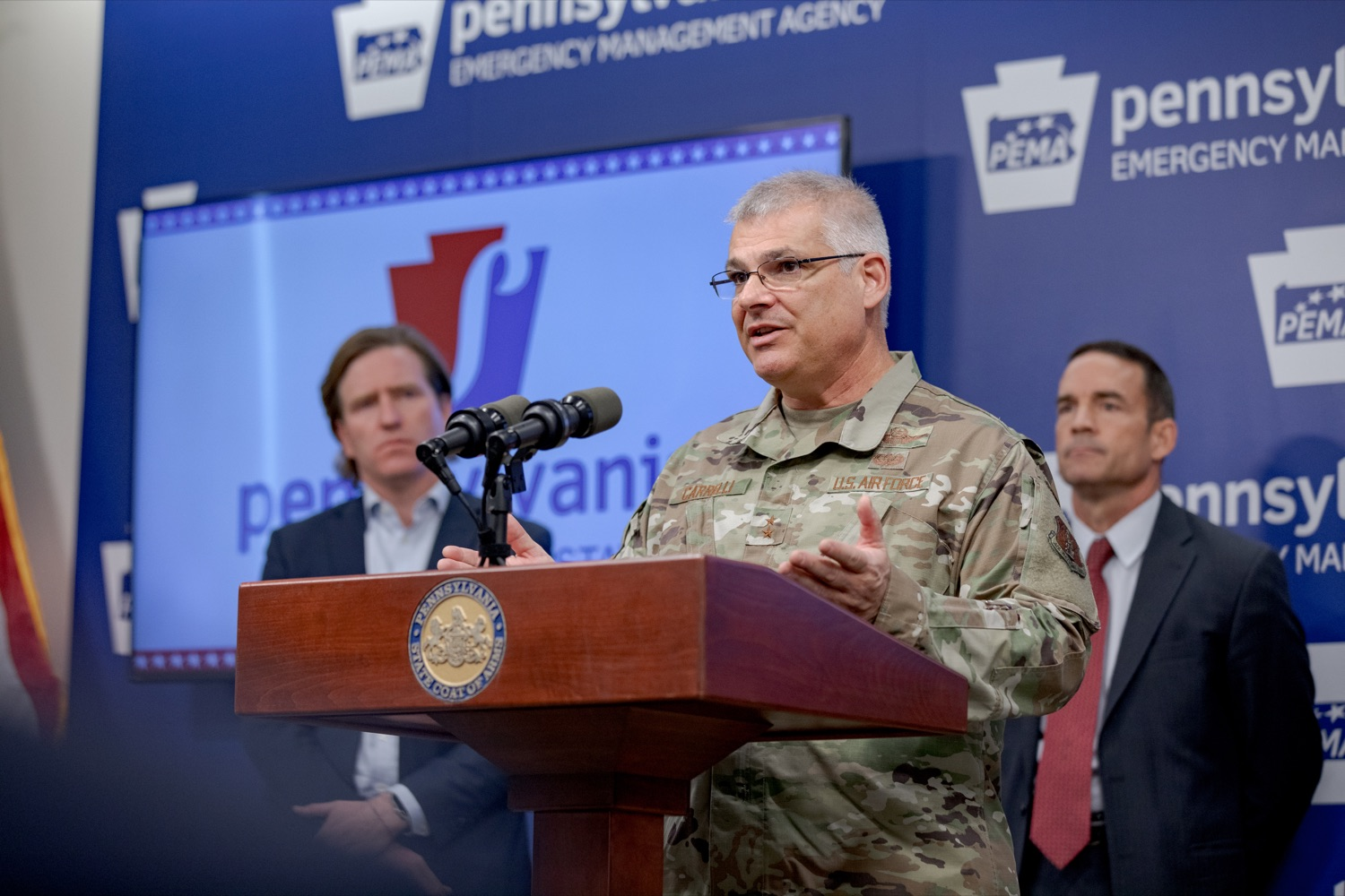"""<a href=""""https://filesource.wostreaming.net/commonwealthofpa/photo/17558_DOS_Election_Update_NK_006.JPG"""" target=""""_blank"""">⇣Download Photo<br></a>Major General Anthony Carrelli, Adjutant General of the PA National Guard, speaks during a press conference assuring Pennsylvanians that a sophisticated network of federal, state and local partnerships is safeguarding todays municipal election, inside PEMA headquarters on Tuesday, November 5, 2019."""