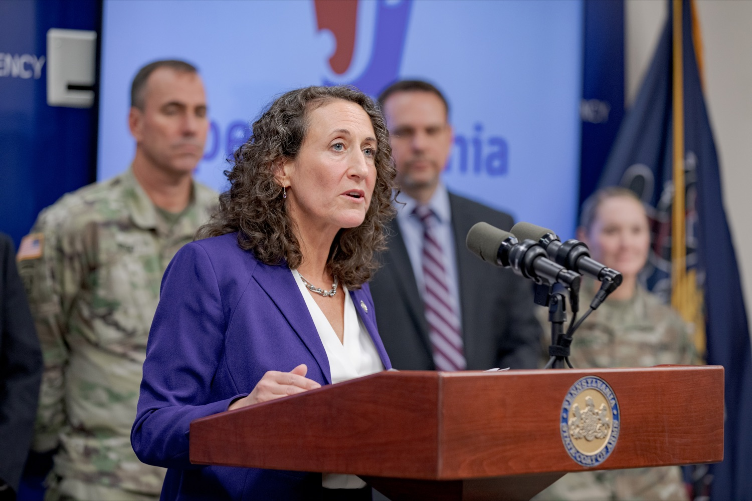 """<a href=""""https://filesource.wostreaming.net/commonwealthofpa/photo/17558_DOS_Election_Update_NK_009.JPG"""" target=""""_blank"""">⇣Download Photo<br></a>Acting Secretary of State Kathy Boockvar speaks during a press conference assuring Pennsylvanians that a sophisticated network of federal, state and local partnerships is safeguarding todays municipal election, inside PEMA headquarters on Tuesday, November 5, 2019."""