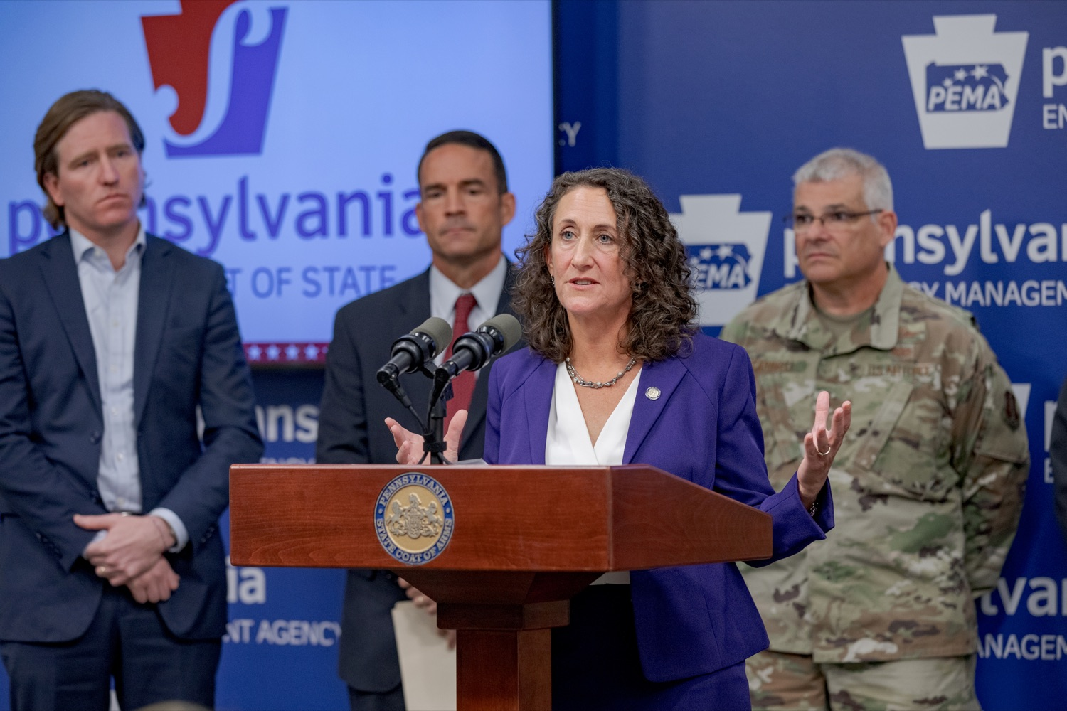 """<a href=""""https://filesource.wostreaming.net/commonwealthofpa/photo/17558_DOS_Election_Update_NK_010.JPG"""" target=""""_blank"""">⇣Download Photo<br></a>Acting Secretary of State Kathy Boockvar speaks during a press conference assuring Pennsylvanians that a sophisticated network of federal, state and local partnerships is safeguarding todays municipal election, inside PEMA headquarters on Tuesday, November 5, 2019."""