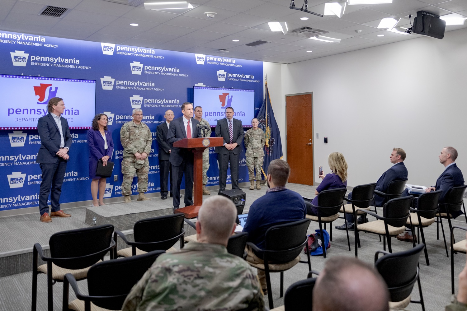 "<a href=""https://filesource.wostreaming.net/commonwealthofpa/photo/17558_DOS_Election_Update_NK_011.JPG"" target=""_blank"">⇣ Download Photo<br></a>Marcus Brown, director of the Governor's Office of Homeland Security, speaks during a press conference assuring Pennsylvanians that a sophisticated network of federal, state and local partnerships is safeguarding todays municipal election, inside PEMA headquarters on Tuesday, November 5, 2019."