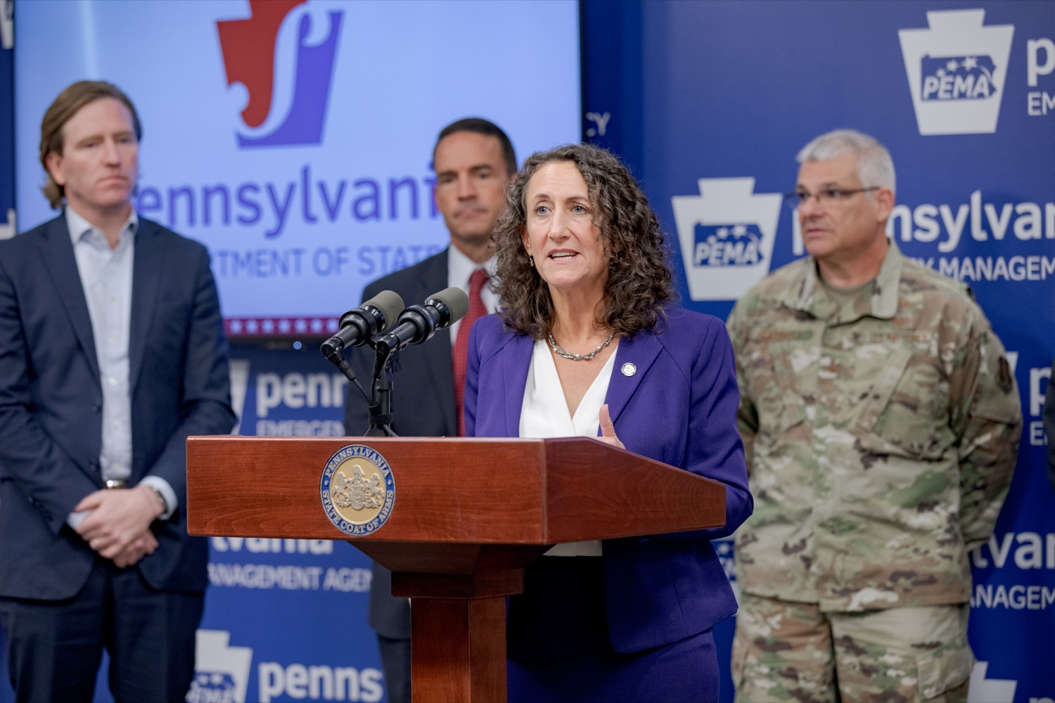 """<a href=""""https://filesource.wostreaming.net/commonwealthofpa/photo/17558_DOS_Election_Update_NK_012.JPG"""" target=""""_blank"""">⇣Download Photo<br></a>Acting Secretary of State Kathy Boockvar speaks during a press conference assuring Pennsylvanians that a sophisticated network of federal, state and local partnerships is safeguarding todays municipal election, inside PEMA headquarters on Tuesday, November 5, 2019."""