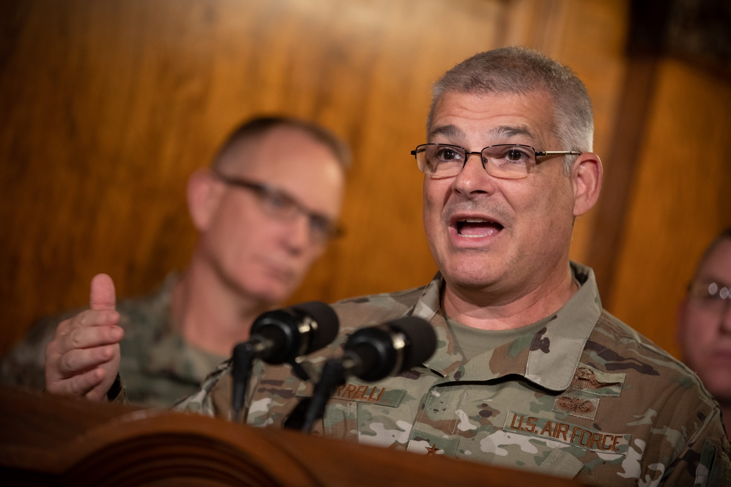 """<a href=""""https://filesource.wostreaming.net/commonwealthofpa/photo/17563_gov_giBill_dz_002.jpg"""" target=""""_blank"""">⇣Download Photo<br></a>Maj. Gen. Anthony Carelli speaking at the announcement.Governor Tom Wolf, joined by Pennsylvanias adjutant general and head of the Department of Military and Veterans Affairs Maj. Gen. Anthony Carelli, legislators and PA National Guard members and their families, encouraged PA National Guard members to take advantage of the new Military Family Education Program, or PA GI bill, now open for enrollment. Harrisburg, PA Monday, November 4 2019"""