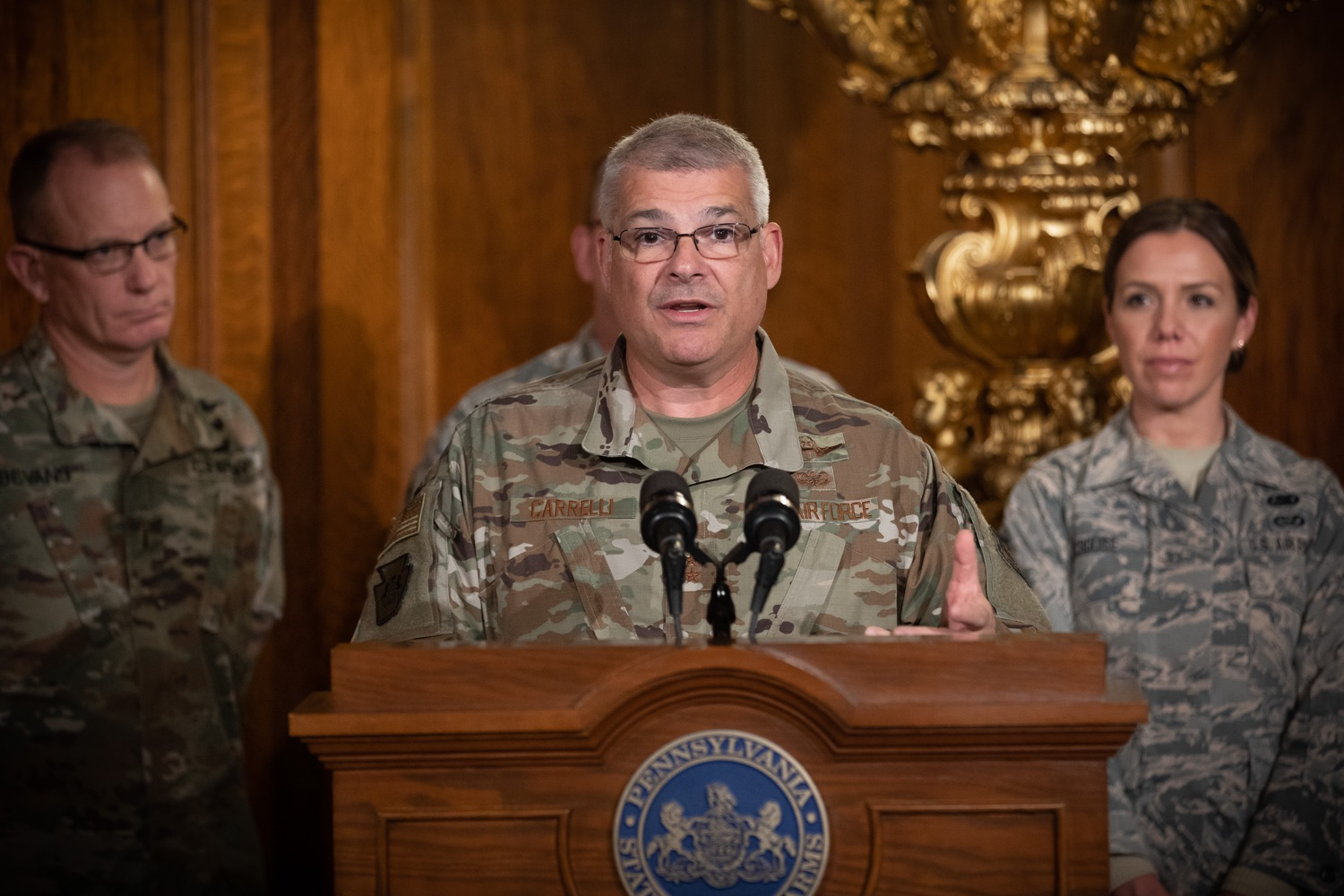 """<a href=""""https://filesource.wostreaming.net/commonwealthofpa/photo/17563_gov_giBill_dz_009.jpg"""" target=""""_blank"""">⇣Download Photo<br></a>Maj. Gen. Anthony Carelli speaking at the announcement.Governor Tom Wolf, joined by Pennsylvanias adjutant general and head of the Department of Military and Veterans Affairs Maj. Gen. Anthony Carelli, legislators and PA National Guard members and their families, encouraged PA National Guard members to take advantage of the new Military Family Education Program, or PA GI bill, now open for enrollment. Harrisburg, PA Monday, November 4 2019"""