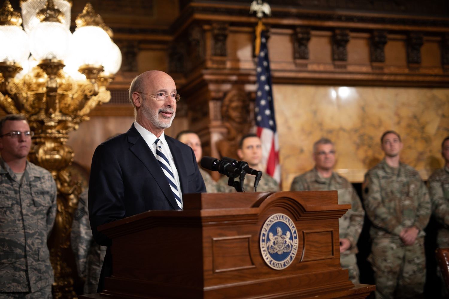 """<a href=""""https://filesource.wostreaming.net/commonwealthofpa/photo/17563_gov_giBill_dz_010.jpg"""" target=""""_blank"""">⇣Download Photo<br></a>Governor Tom Wolf speaking at the announcement. Governor Tom Wolf, joined by Pennsylvanias adjutant general and head of the Department of Military and Veterans Affairs Maj. Gen. Anthony Carelli, legislators and PA National Guard members and their families, encouraged PA National Guard members to take advantage of the new Military Family Education Program, or PA GI bill, now open for enrollment. Harrisburg, PA Monday, November 4 2019"""