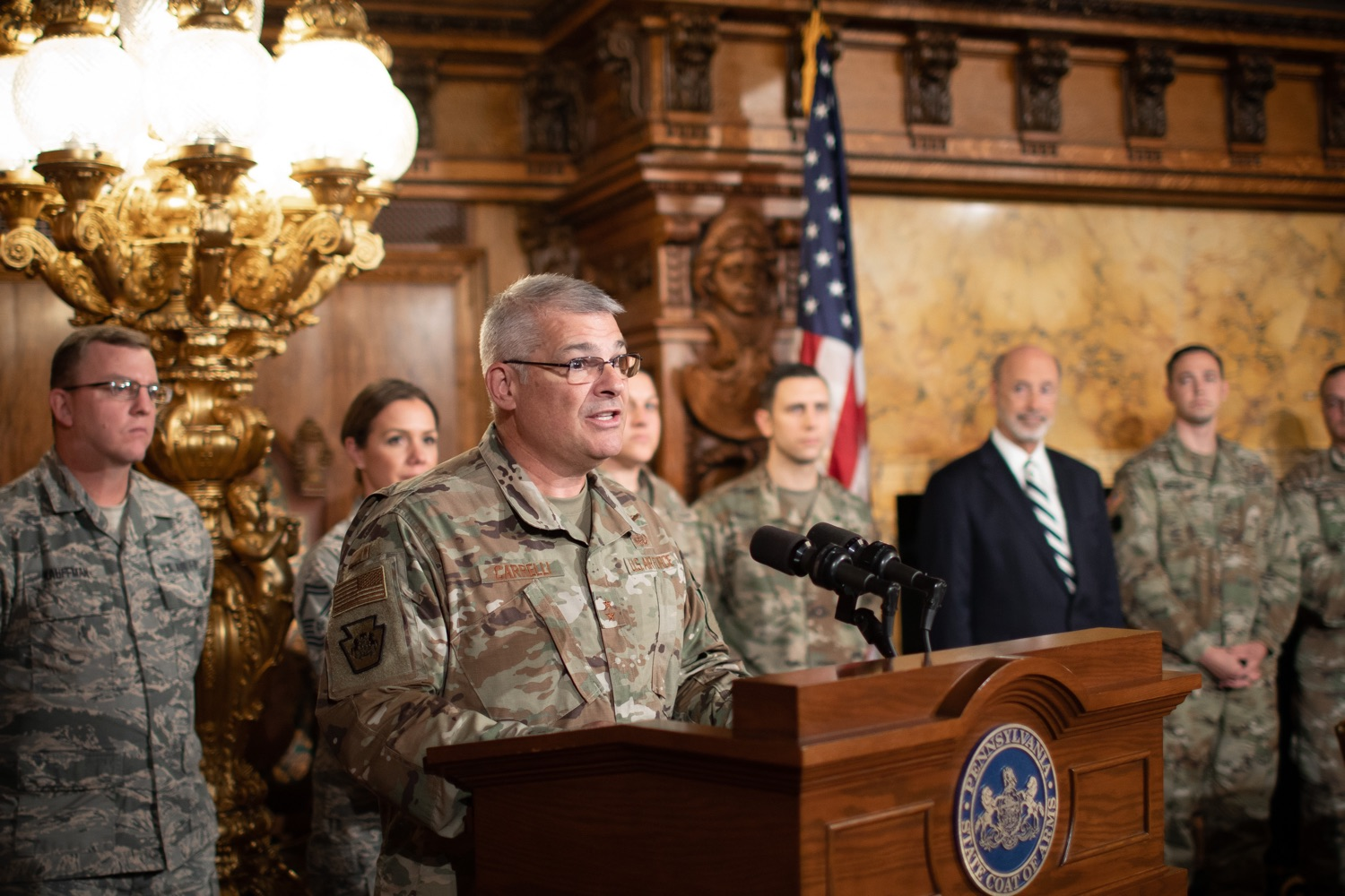 """<a href=""""https://filesource.wostreaming.net/commonwealthofpa/photo/17563_gov_giBill_dz_012.jpg"""" target=""""_blank"""">⇣Download Photo<br></a>Maj. Gen. Anthony Carelli speaking at the announcement.Governor Tom Wolf, joined by Pennsylvanias adjutant general and head of the Department of Military and Veterans Affairs Maj. Gen. Anthony Carelli, legislators and PA National Guard members and their families, encouraged PA National Guard members to take advantage of the new Military Family Education Program, or PA GI bill, now open for enrollment. Harrisburg, PA Monday, November 4 2019"""