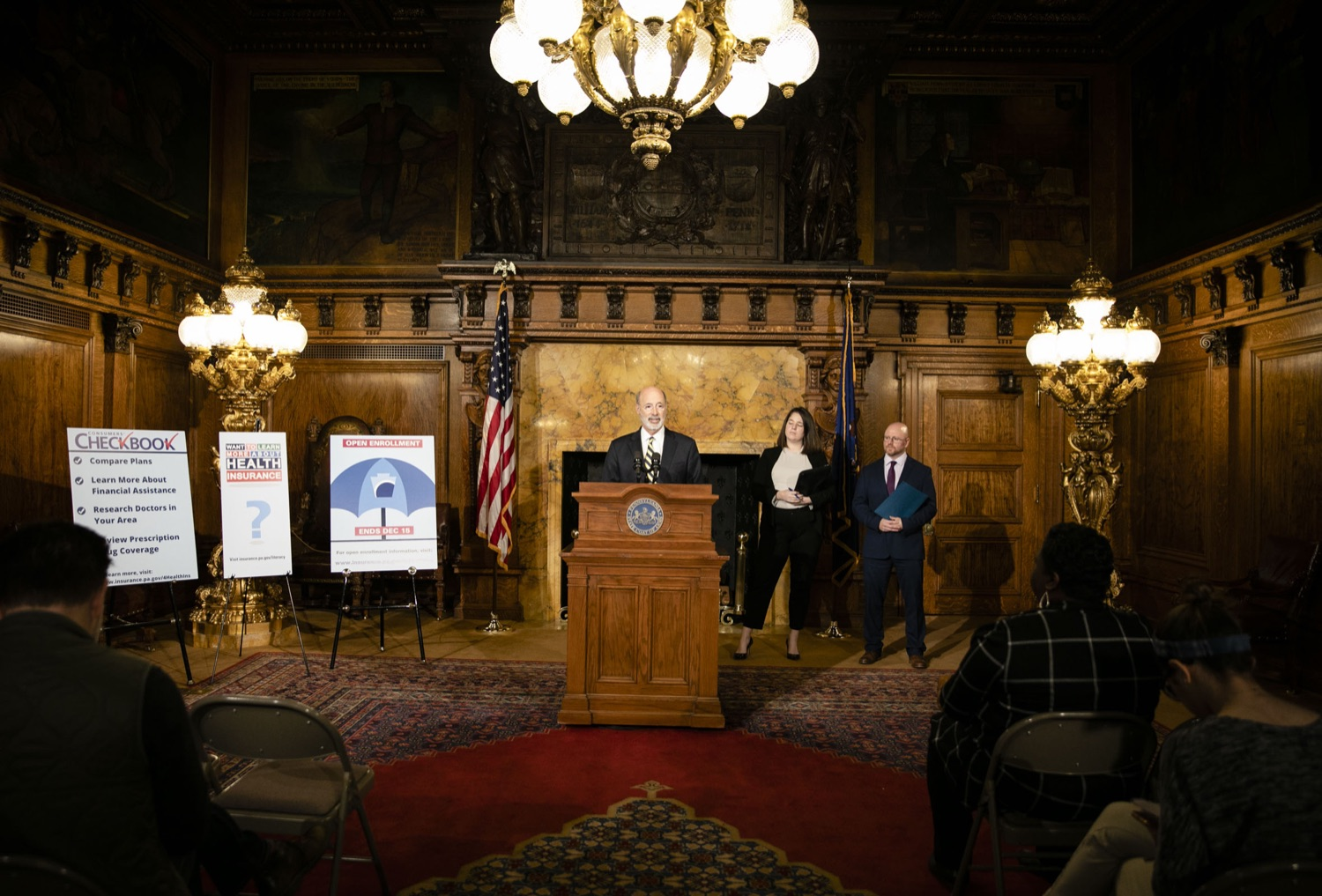 "<a href=""https://filesource.wostreaming.net/commonwealthofpa/photo/17564_GOV_aca_amb_001.jpg"" target=""_blank"">⇣ Download Photo<br></a>Governor Tom Wolf and Insurance Commissioner Jessica Altman advised Pennsylvanians that now is the time to buy health insurance on the federal exchange, healthcare.gov, as open enrollment continues for Affordable Care Act (ACA) plans through Dec. 15. Consumers have more options in Pennsylvania, and many will find they qualify for subsidies. November 7, 2019. Harrisburg, PA."