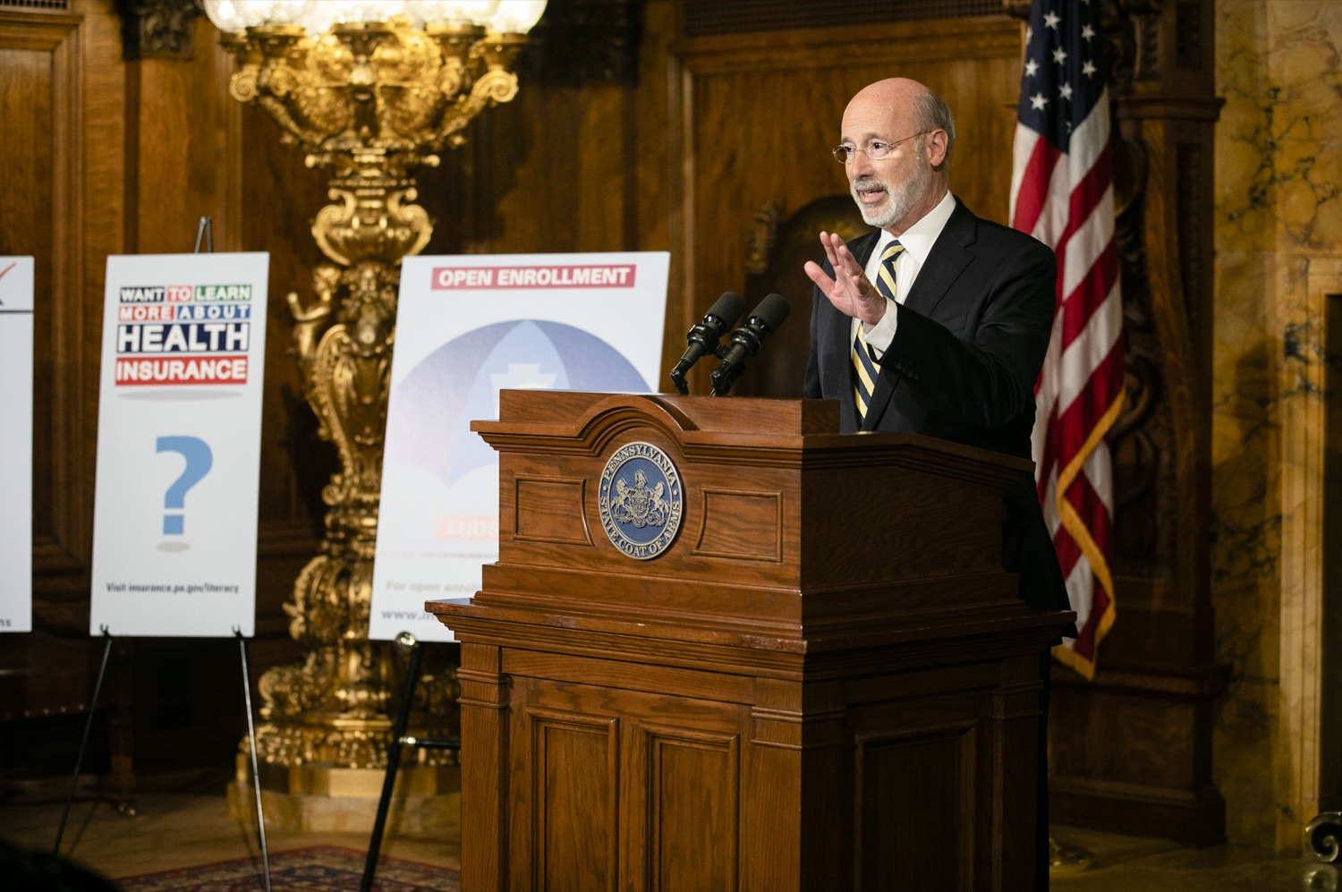 "<a href=""https://filesource.wostreaming.net/commonwealthofpa/photo/17564_GOV_aca_amb_002.jpg"" target=""_blank"">⇣ Download Photo<br></a>Governor Tom Wolf and Insurance Commissioner Jessica Altman advised Pennsylvanians that now is the time to buy health insurance on the federal exchange, healthcare.gov, as open enrollment continues for Affordable Care Act (ACA) plans through Dec. 15. Consumers have more options in Pennsylvania, and many will find they qualify for subsidies. November 7, 2019. Harrisburg, PA."