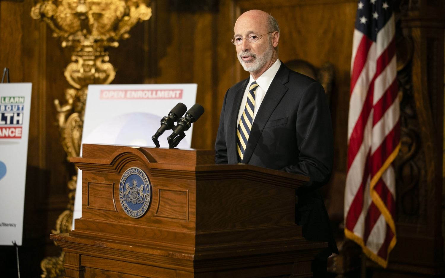 "<a href=""https://filesource.wostreaming.net/commonwealthofpa/photo/17564_GOV_aca_amb_003.jpg"" target=""_blank"">⇣ Download Photo<br></a>Governor Tom Wolf and Insurance Commissioner Jessica Altman advised Pennsylvanians that now is the time to buy health insurance on the federal exchange, healthcare.gov, as open enrollment continues for Affordable Care Act (ACA) plans through Dec. 15. Consumers have more options in Pennsylvania, and many will find they qualify for subsidies. November 7, 2019. Harrisburg, PA."