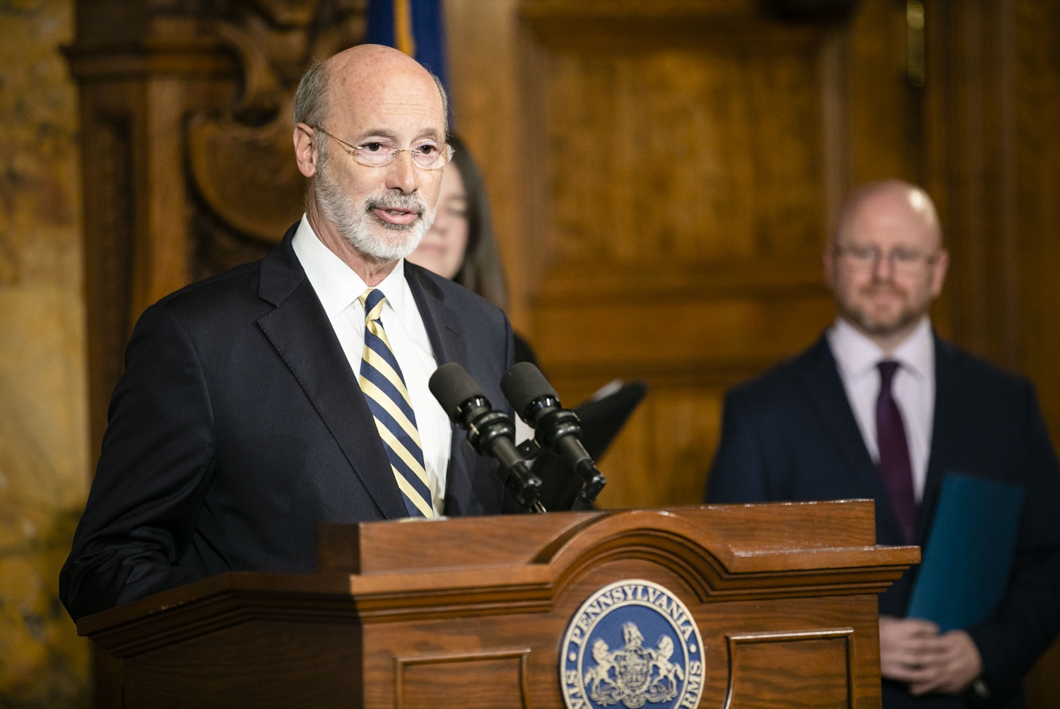 "<a href=""https://filesource.wostreaming.net/commonwealthofpa/photo/17564_GOV_aca_amb_007.jpg"" target=""_blank"">⇣ Download Photo<br></a>Governor Tom Wolf and Insurance Commissioner Jessica Altman advised Pennsylvanians that now is the time to buy health insurance on the federal exchange, healthcare.gov, as open enrollment continues for Affordable Care Act (ACA) plans through Dec. 15. Consumers have more options in Pennsylvania, and many will find they qualify for subsidies. November 7, 2019. Harrisburg, PA."