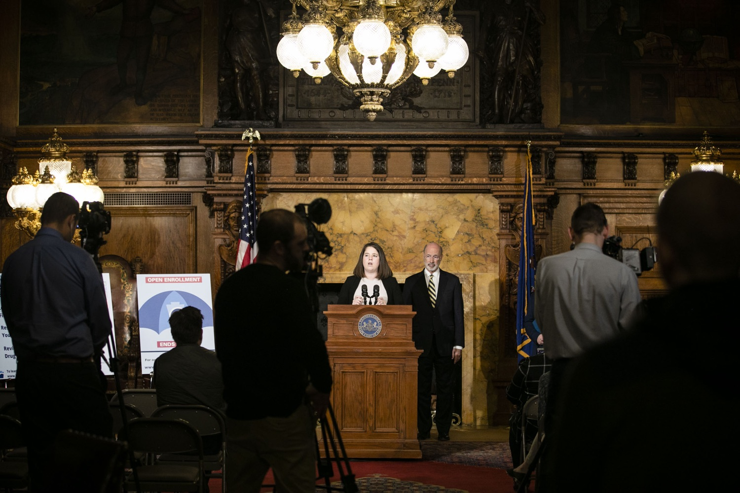 "<a href=""https://filesource.wostreaming.net/commonwealthofpa/photo/17564_GOV_aca_amb_010.jpg"" target=""_blank"">⇣ Download Photo<br></a>Governor Tom Wolf and Insurance Commissioner Jessica Altman advised Pennsylvanians that now is the time to buy health insurance on the federal exchange, healthcare.gov, as open enrollment continues for Affordable Care Act (ACA) plans through Dec. 15. Consumers have more options in Pennsylvania, and many will find they qualify for subsidies. November 7, 2019. Harrisburg, PA."