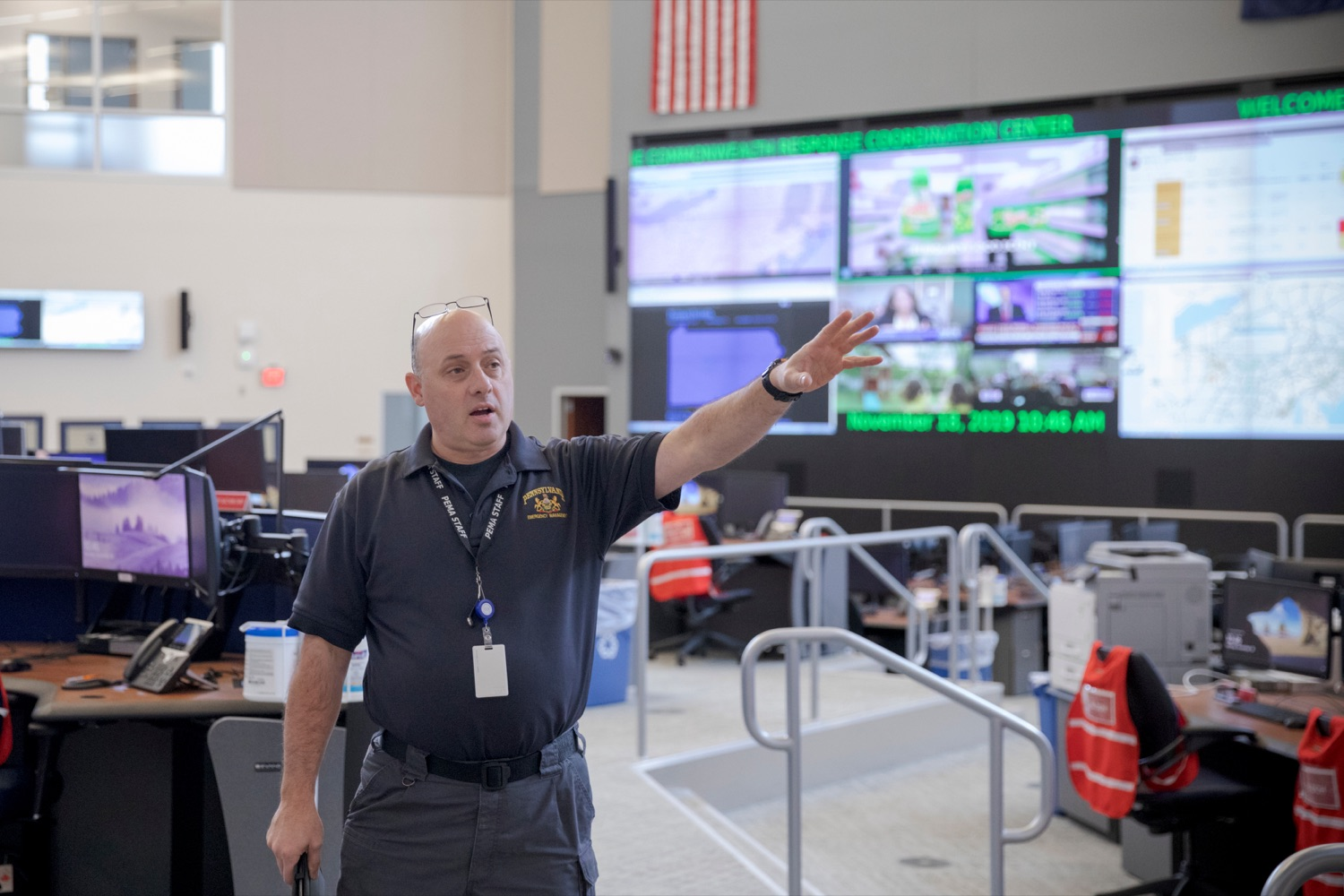 """<a href=""""https://filesource.wostreaming.net/commonwealthofpa/photo/17571_PSP_Thanksgiving_NK_002.JPG"""" target=""""_blank"""">⇣Download Photo<br></a>Robert Then, commonwealth response coordination center manager for Pennsylvania Emergency Management Agency (PEMA), gives a tour inside the building on Monday, November 18, 2019."""