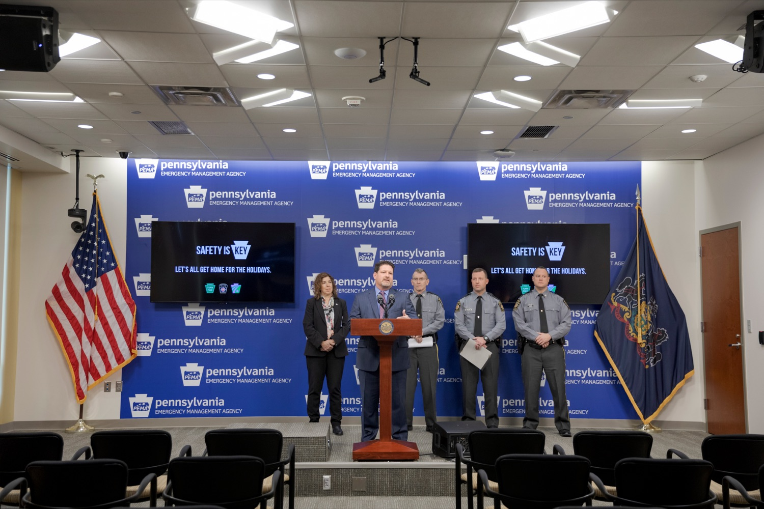 """<a href=""""https://filesource.wostreaming.net/commonwealthofpa/photo/17571_PSP_Thanksgiving_NK_010.JPG"""" target=""""_blank"""">⇣Download Photo<br></a>Craig Shuey, chief operating officer at the Pennsylvania Turnpike Commission, speaks during a press conference reminding drivers to wear their seat belts, drive sober, and eliminate distractions behind the wheel as they prepare to take to the road for Thanksgiving, at the Pennsylvania Emergency Management Agency (PEMA) on Monday, November 18, 2019."""