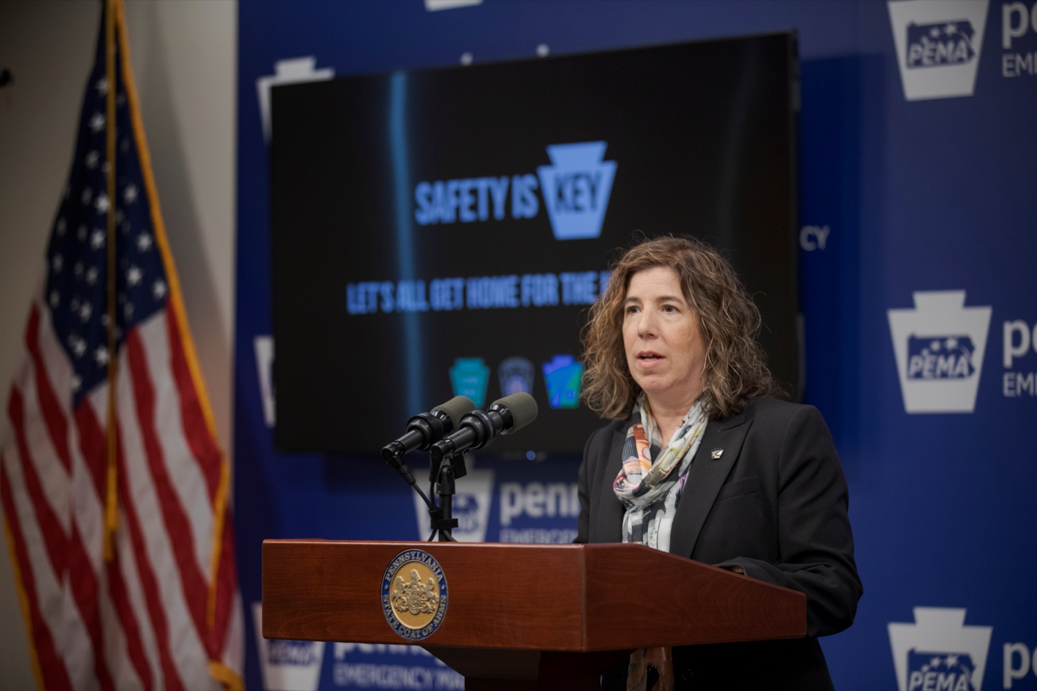 """<a href=""""https://filesource.wostreaming.net/commonwealthofpa/photo/17571_PSP_Thanksgiving_NK_011.JPG"""" target=""""_blank"""">⇣Download Photo<br></a>PennDOT Secretary Leslie S. Richards speaks during a press conference reminding drivers to wear their seat belts, drive sober, and eliminate distractions behind the wheel as they prepare to take to the road for Thanksgiving, at the Pennsylvania Emergency Management Agency (PEMA) on Monday, November 18, 2019."""