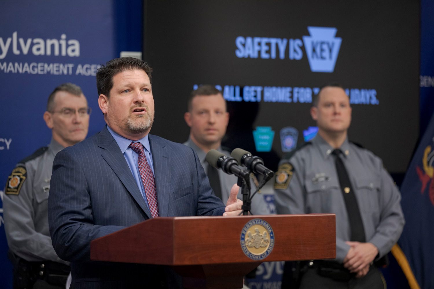 """<a href=""""https://filesource.wostreaming.net/commonwealthofpa/photo/17571_PSP_Thanksgiving_NK_013.JPG"""" target=""""_blank"""">⇣Download Photo<br></a>Craig Shuey, chief operating officer at the Pennsylvania Turnpike Commission, speaks during a press conference reminding drivers to wear their seat belts, drive sober, and eliminate distractions behind the wheel as they prepare to take to the road for Thanksgiving, at the Pennsylvania Emergency Management Agency (PEMA) on Monday, November 18, 2019."""