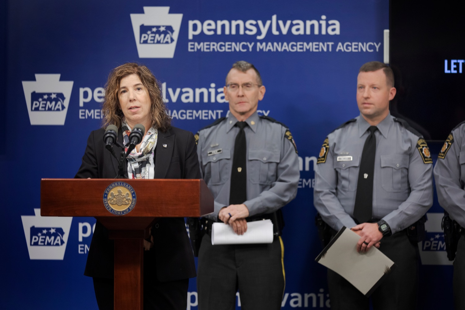 """<a href=""""https://filesource.wostreaming.net/commonwealthofpa/photo/17571_PSP_Thanksgiving_NK_016.JPG"""" target=""""_blank"""">⇣Download Photo<br></a>PennDOT Secretary Leslie S. Richards speaks during a press conference reminding drivers to wear their seat belts, drive sober, and eliminate distractions behind the wheel as they prepare to take to the road for Thanksgiving, at the Pennsylvania Emergency Management Agency (PEMA) on Monday, November 18, 2019."""