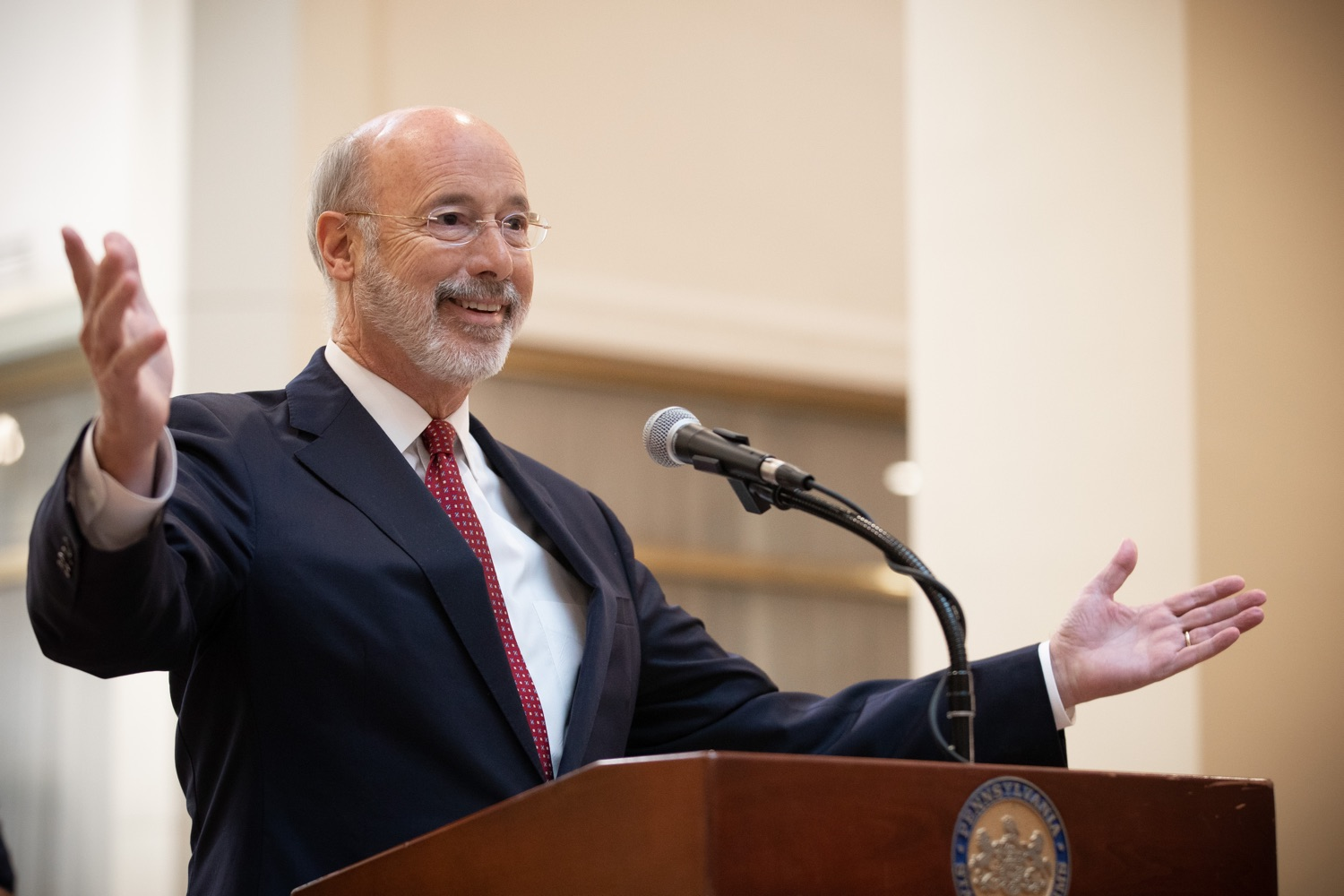 """<a href=""""https://filesource.wostreaming.net/commonwealthofpa/photo/17587_gov_pasmart_rural_robotics_dz_001.jpg"""" target=""""_blank"""">⇣Download Photo<br></a>Pennsylvania Governor Tom Wolf speaks at the robotics demonstration. Celebrating the success of the PAsmart workforce development program to create educational opportunities at schools across the commonwealth, Governor Tom Wolf welcomed more than 50 students from the Pennsylvania Rural Robotics Initiative to the Capitol today. The students from nine western Pennsylvania school districts showcased their skills in coding, robotics and drone technology. The Wolf administration awarded the initiative a $299,000 PAsmart Advancing Grant earlier this year. Harrisburg, PA  Tuesday, November 12, 2019"""
