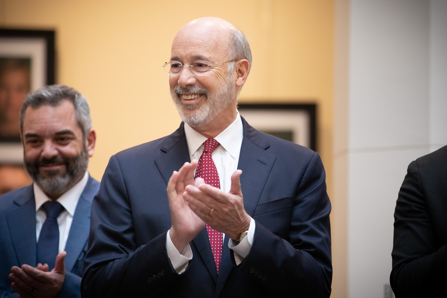 """<a href=""""https://filesource.wostreaming.net/commonwealthofpa/photo/17587_gov_pasmart_rural_robotics_dz_003.jpg"""" target=""""_blank"""">⇣Download Photo<br></a>Pennsylvania Governor Tom Wolf meeting with students at the robotics demonstration.  Celebrating the success of the PAsmart workforce development program to create educational opportunities at schools across the commonwealth, Governor Tom Wolf welcomed more than 50 students from the Pennsylvania Rural Robotics Initiative to the Capitol today. The students from nine western Pennsylvania school districts showcased their skills in coding, robotics and drone technology. The Wolf administration awarded the initiative a $299,000 PAsmart Advancing Grant earlier this year. Harrisburg, PA  Tuesday, November 12, 2019"""
