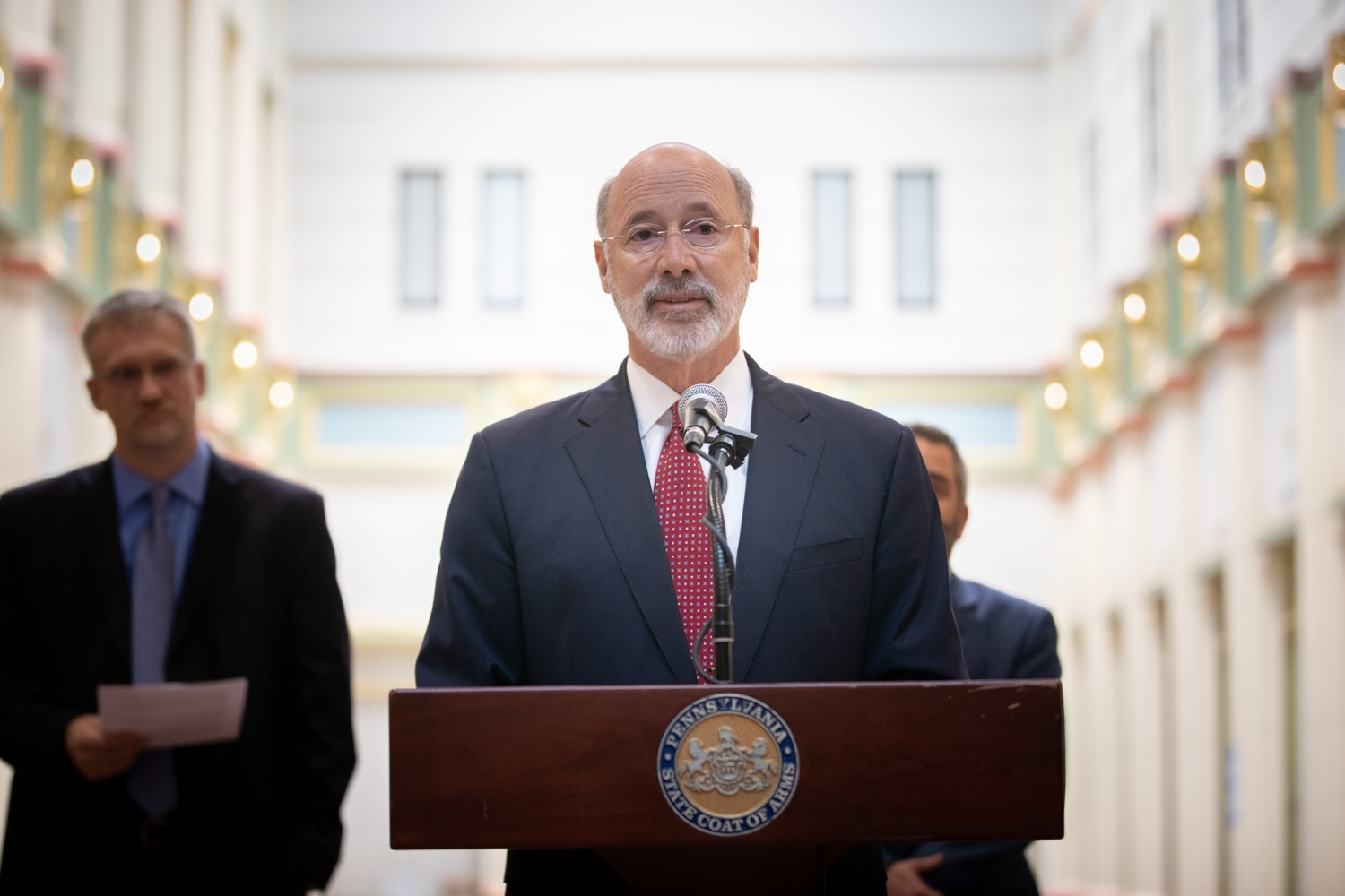 """<a href=""""https://filesource.wostreaming.net/commonwealthofpa/photo/17587_gov_pasmart_rural_robotics_dz_015.jpg"""" target=""""_blank"""">⇣Download Photo<br></a>Pennsylvania Governor Tom Wolf speaks at the robotics demonstration.   Celebrating the success of the PAsmart workforce development program to create educational opportunities at schools across the commonwealth, Governor Tom Wolf welcomed more than 50 students from the Pennsylvania Rural Robotics Initiative to the Capitol today. The students from nine western Pennsylvania school districts showcased their skills in coding, robotics and drone technology. The Wolf administration awarded the initiative a $299,000 PAsmart Advancing Grant earlier this year. Harrisburg, PA  Tuesday, November 12, 2019"""