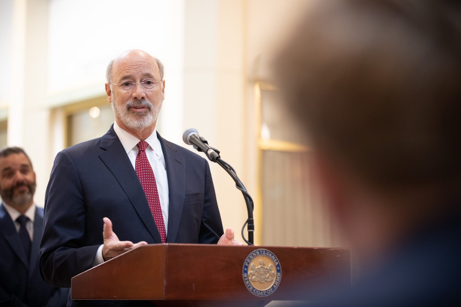 """<a href=""""https://filesource.wostreaming.net/commonwealthofpa/photo/17587_gov_pasmart_rural_robotics_dz_019.jpg"""" target=""""_blank"""">⇣Download Photo<br></a>Pennsylvania Governor Tom Wolf answers a question from a student reporter.  Celebrating the success of the PAsmart workforce development program to create educational opportunities at schools across the commonwealth, Governor Tom Wolf welcomed more than 50 students from the Pennsylvania Rural Robotics Initiative to the Capitol today. The students from nine western Pennsylvania school districts showcased their skills in coding, robotics and drone technology. The Wolf administration awarded the initiative a $299,000 PAsmart Advancing Grant earlier this year. Harrisburg, PA  Tuesday, November 12, 2019"""