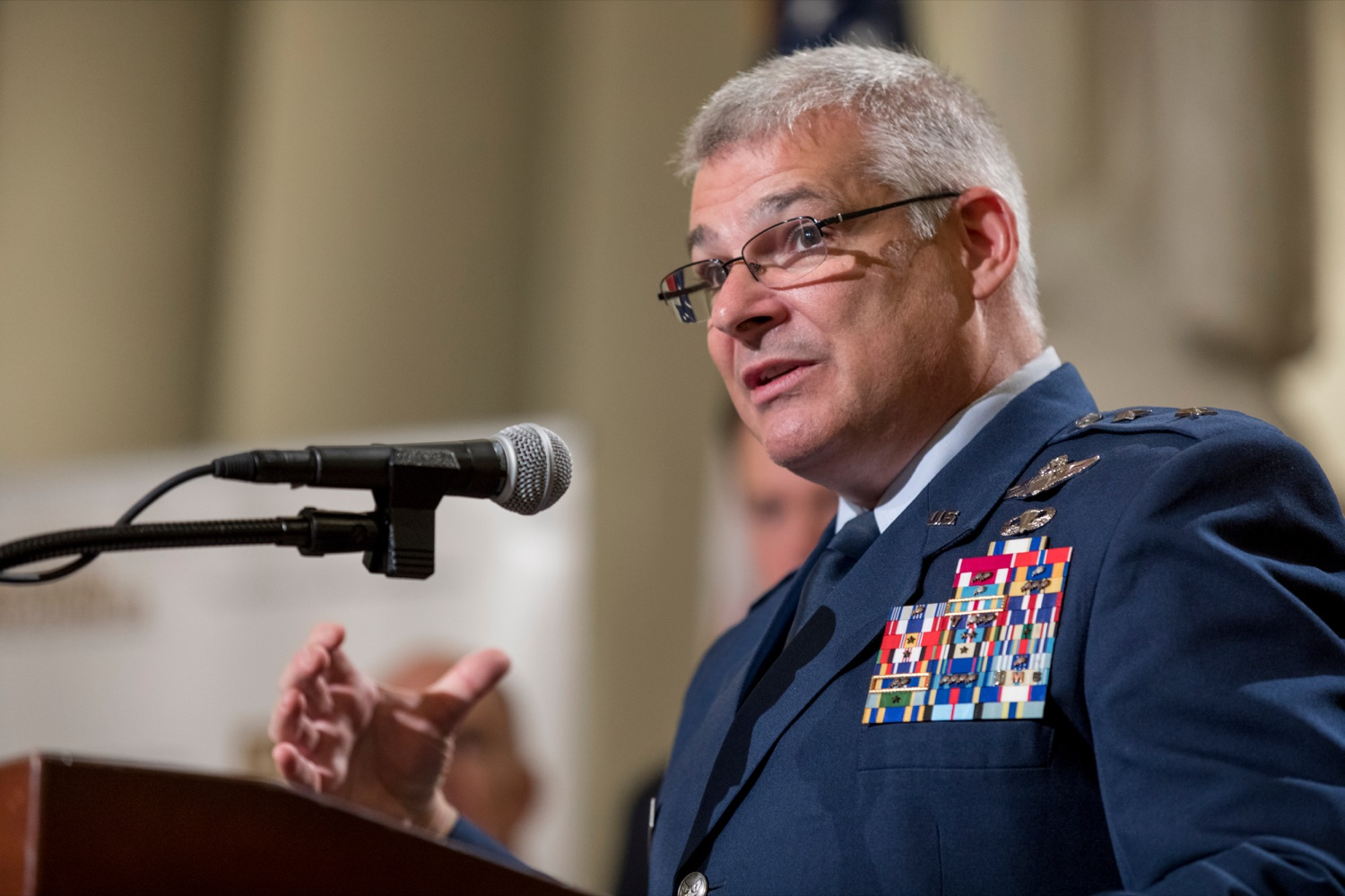 """<a href=""""https://filesource.wostreaming.net/commonwealthofpa/photo/17588_GOV_Mission_Readiness_NK_004.JPG"""" target=""""_blank"""">⇣Download Photo<br></a>Maj. Gen. Anthony Carrelli, USAF and adjutant general of Pennsylvania, speaks during a press conference outlining how competition for qualified individuals among all employment sectors affects military recruiting efforts and warrants greater investment in our next generation inside the Capitol Rotunda on Tuesday, November 12, 2019."""
