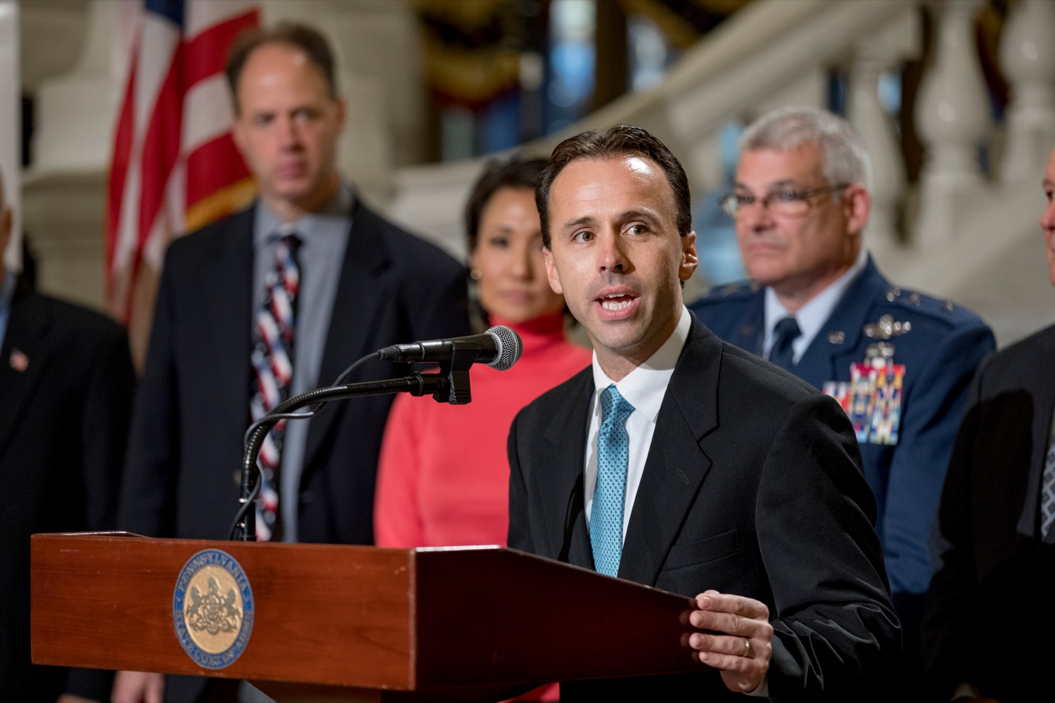 """<a href=""""https://filesource.wostreaming.net/commonwealthofpa/photo/17588_GOV_Mission_Readiness_NK_006.JPG"""" target=""""_blank"""">⇣Download Photo<br></a>Steve Doster, Pennsylvania State director of Mission:Readiness, speaks during a press conference outlining how competition for qualified individuals among all employment sectors affects military recruiting efforts and warrants greater investment in our next generation inside the Capitol Rotunda on Tuesday, November 12, 2019."""