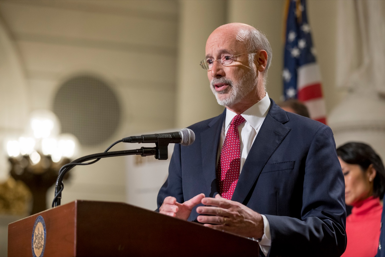 """<a href=""""https://filesource.wostreaming.net/commonwealthofpa/photo/17588_GOV_Mission_Readiness_NK_008.JPG"""" target=""""_blank"""">⇣Download Photo<br></a>Pennsylvania Governor Tom Wolf speaks during a press conference outlining how competition for qualified individuals among all employment sectors affects military recruiting efforts and warrants greater investment in our next generation inside the Capitol Rotunda on Tuesday, November 12, 2019."""
