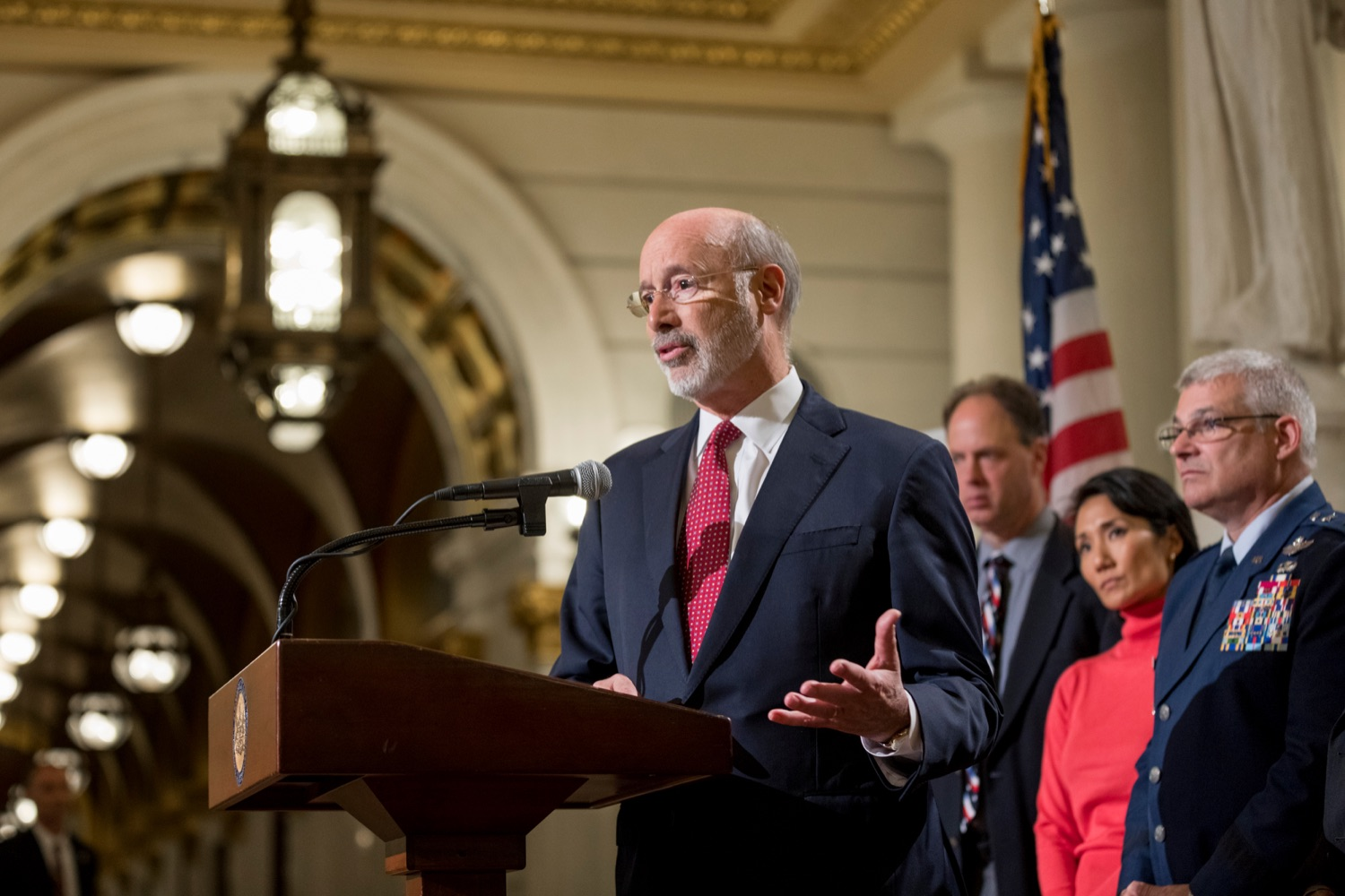 """<a href=""""https://filesource.wostreaming.net/commonwealthofpa/photo/17588_GOV_Mission_Readiness_NK_011.JPG"""" target=""""_blank"""">⇣Download Photo<br></a>Pennsylvania Governor Tom Wolf speaks during a press conference outlining how competition for qualified individuals among all employment sectors affects military recruiting efforts and warrants greater investment in our next generation inside the Capitol Rotunda on Tuesday, November 12, 2019."""