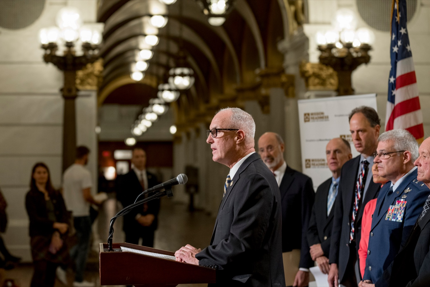 """<a href=""""https://filesource.wostreaming.net/commonwealthofpa/photo/17588_GOV_Mission_Readiness_NK_014.JPG"""" target=""""_blank"""">⇣Download Photo<br></a>State Rep. Tom Murt speaks during a press conference outlining how competition for qualified individuals among all employment sectors affects military recruiting efforts and warrants greater investment in our next generation inside the Capitol Rotunda on Tuesday, November 12, 2019."""