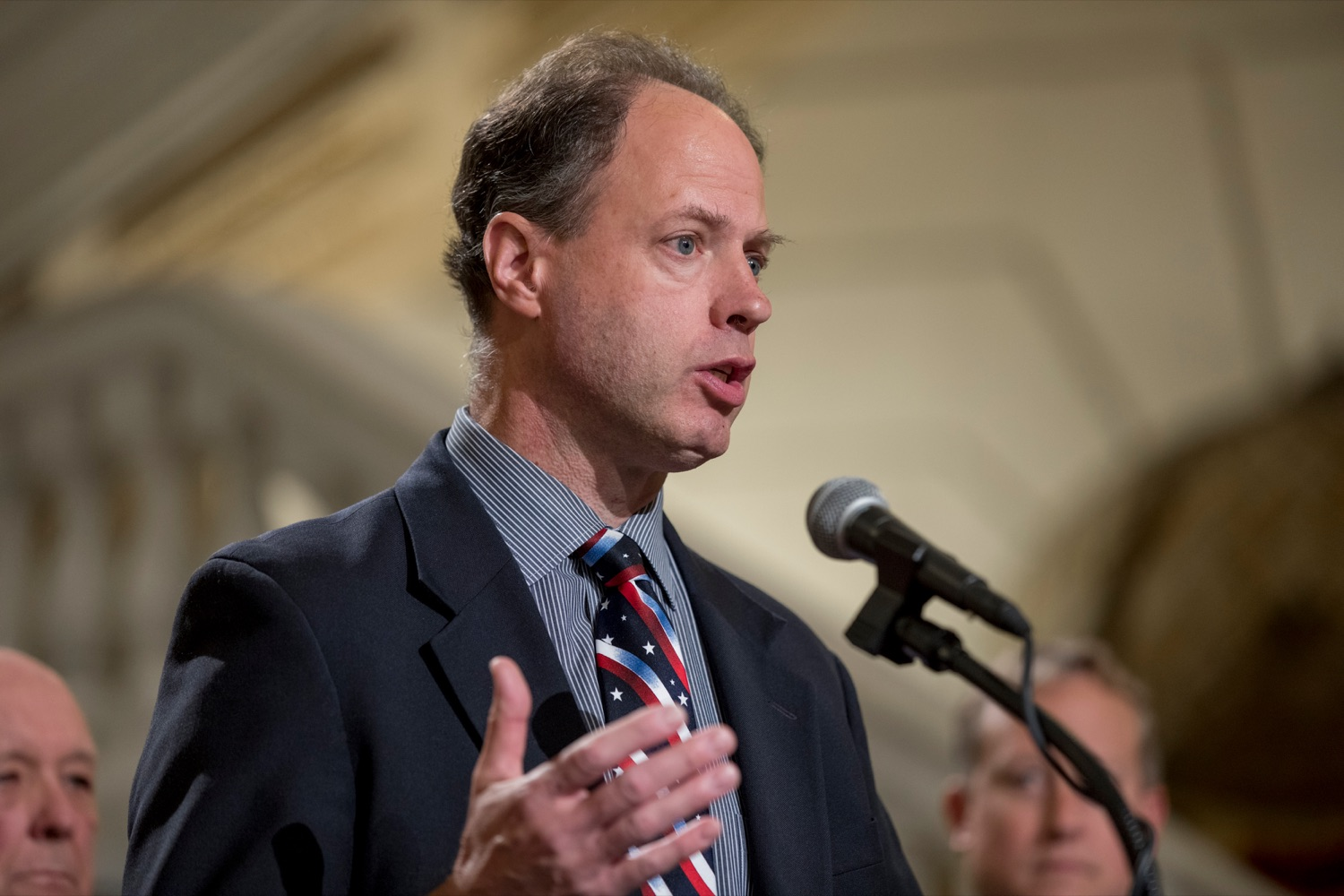 """<a href=""""https://filesource.wostreaming.net/commonwealthofpa/photo/17588_GOV_Mission_Readiness_NK_015.JPG"""" target=""""_blank"""">⇣Download Photo<br></a>State Rep. Mark Longietti speaks during a press conference outlining how competition for qualified individuals among all employment sectors affects military recruiting efforts and warrants greater investment in our next generation inside the Capitol Rotunda on Tuesday, November 12, 2019."""